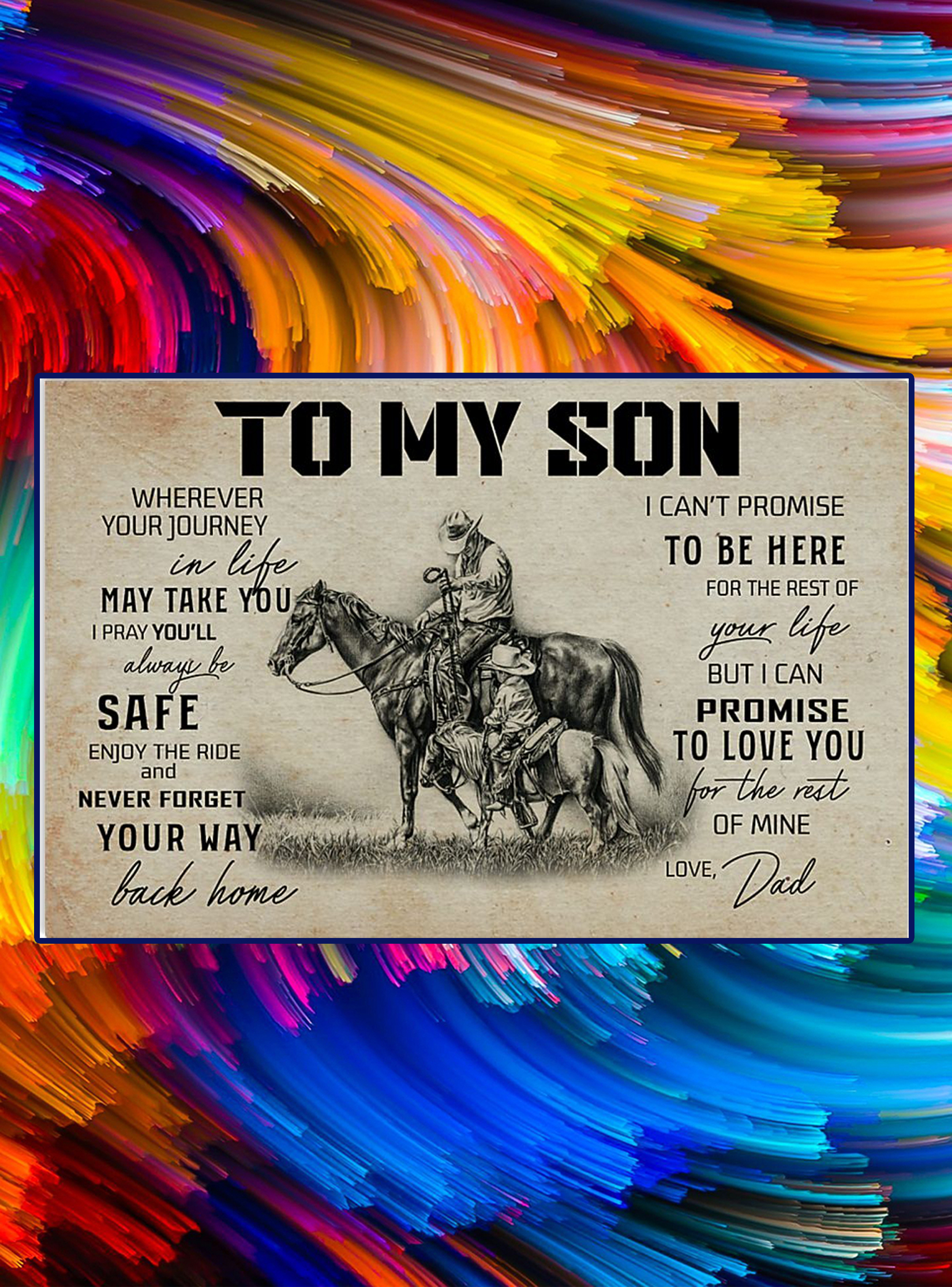 Horse to my son love dad poster - A4