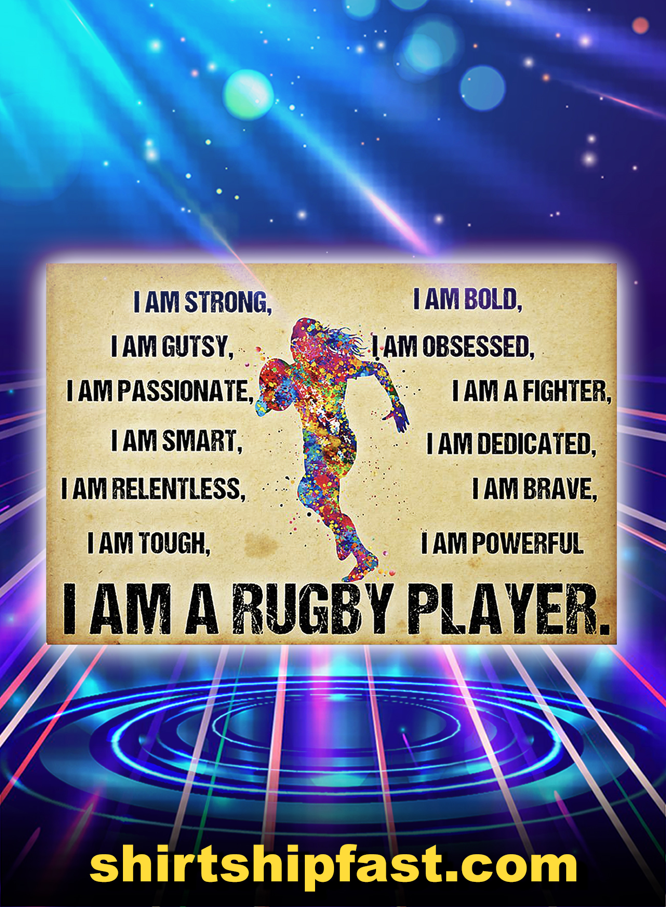 I am a rugby player poster - A4