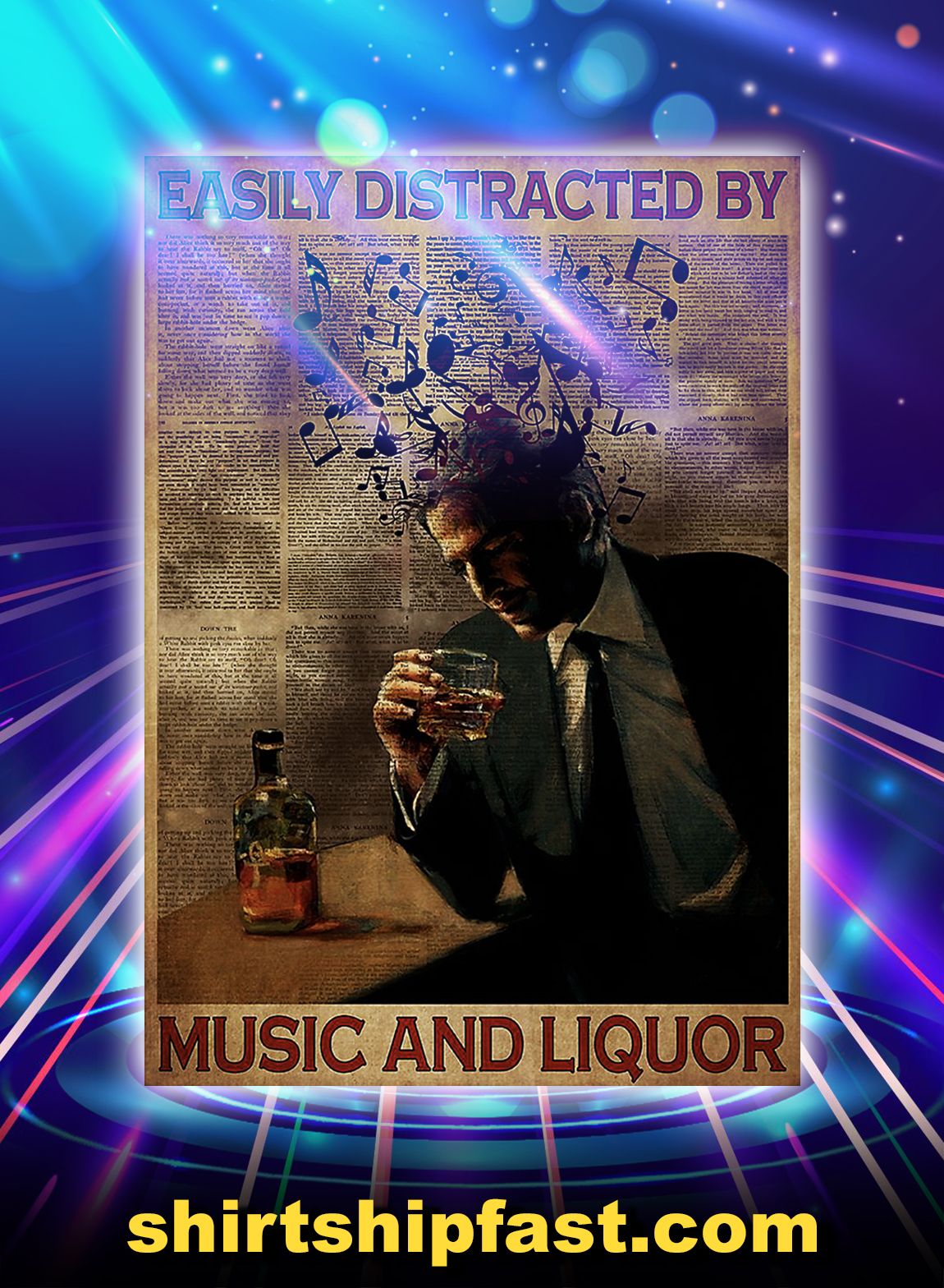 Man easily distracted by music and liquor poster - A3