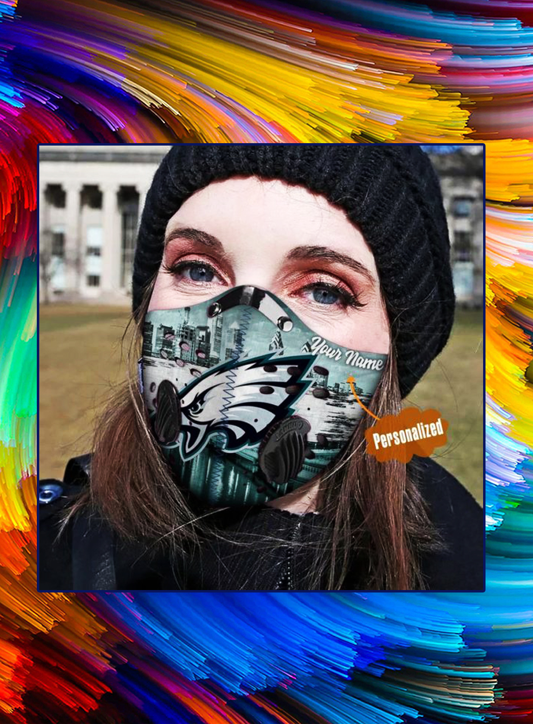 Philadelphia eagles personalized custom name filter face mask - Picture 1