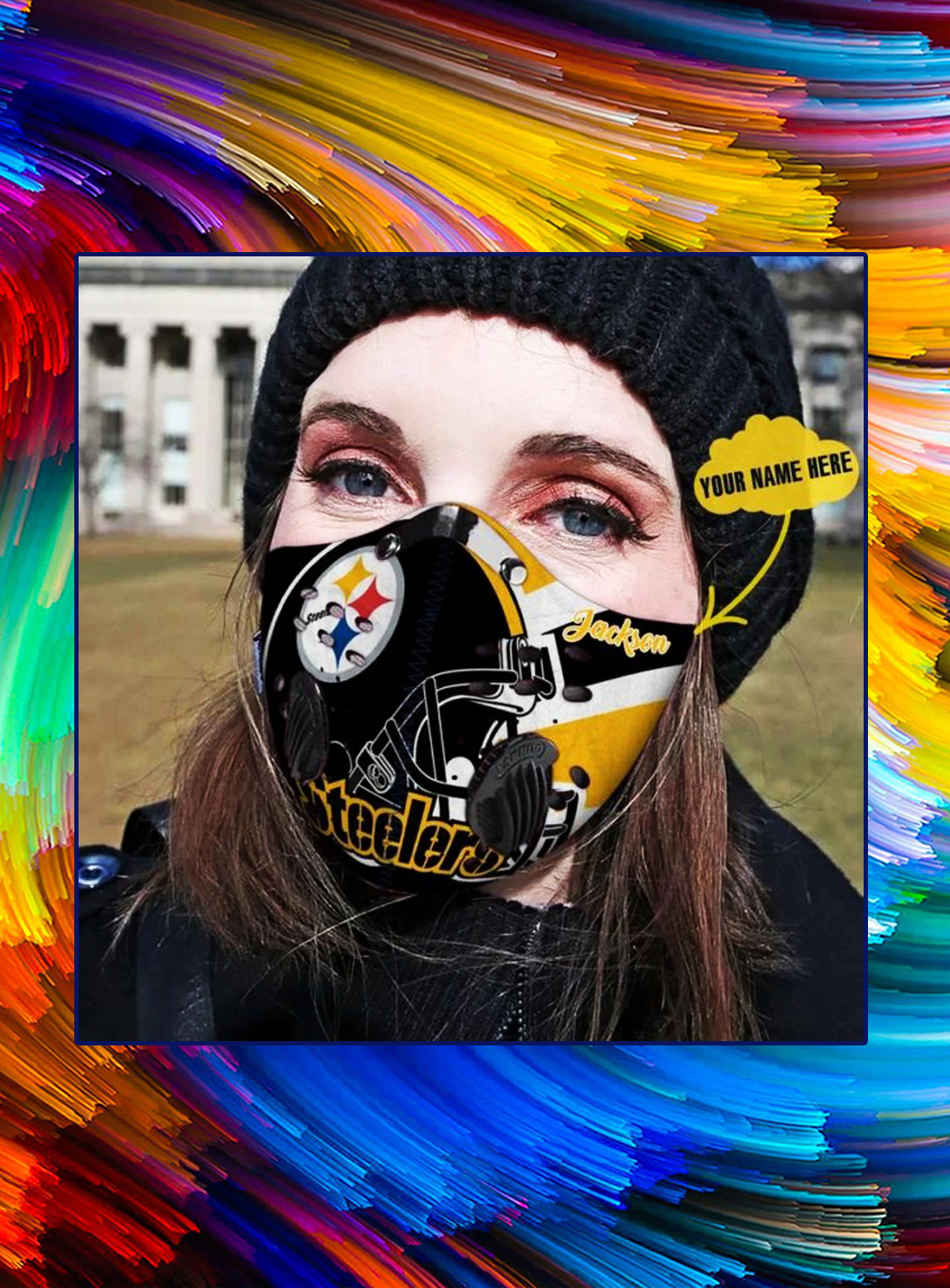 Pittsburgh steelers personalized custom name filter face mask - Picture 1