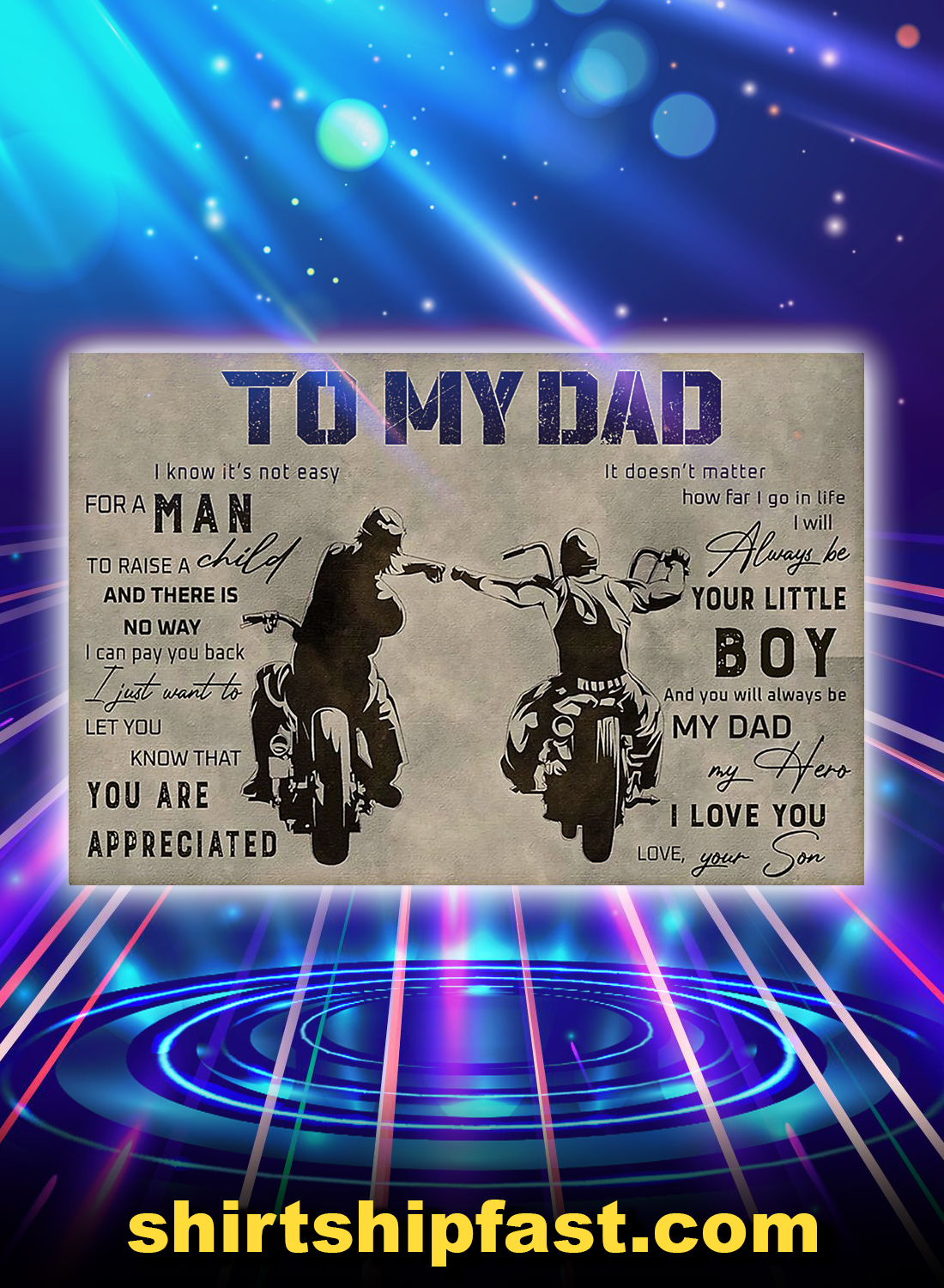 Poster biker to my dad your son