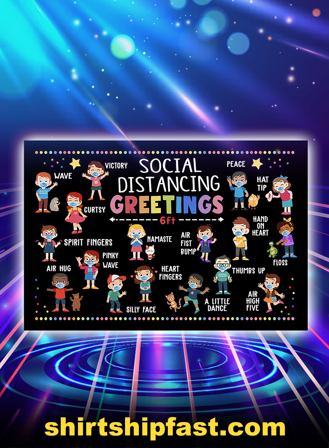 Social distancing greetings 6ft poster - A4