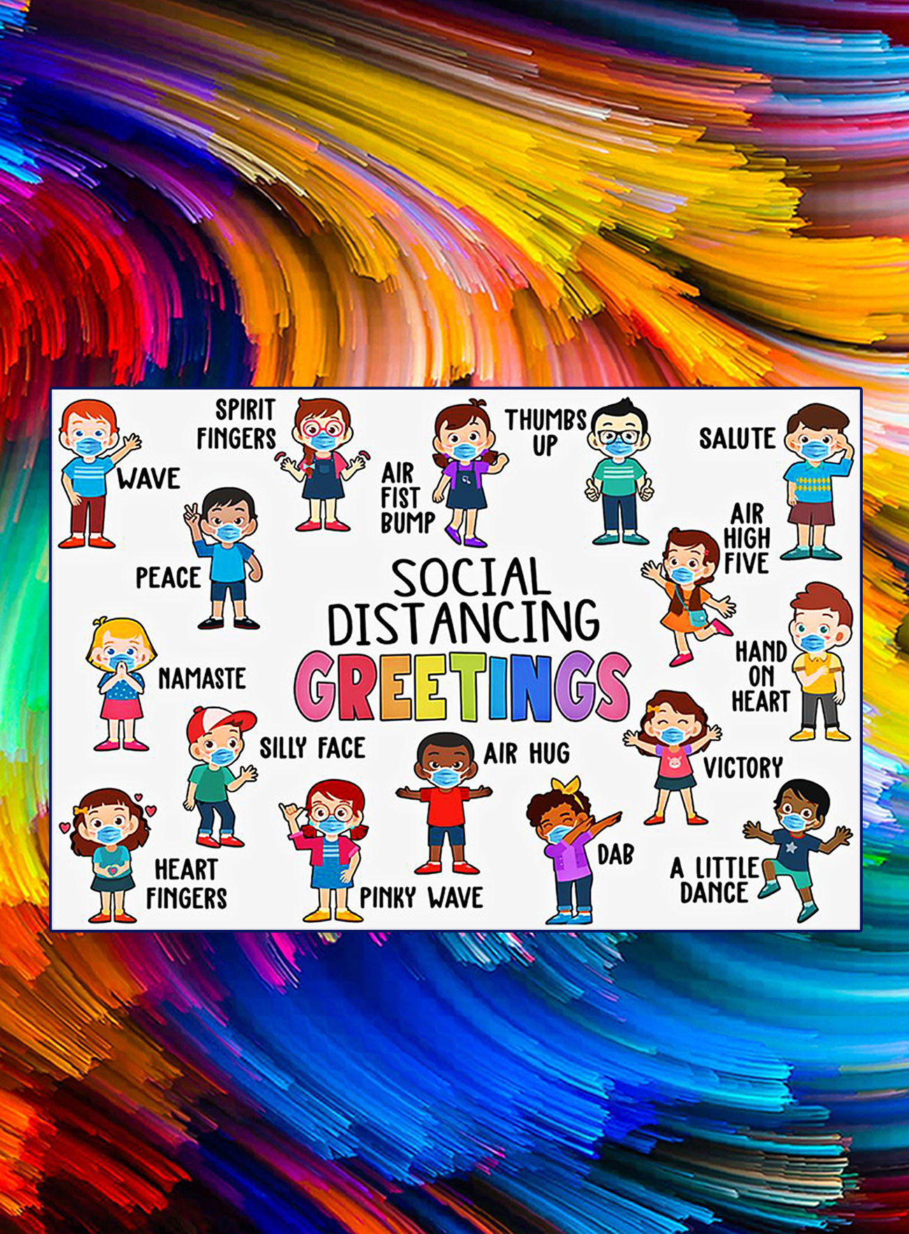 Social distancing greetings classroom poster - A1