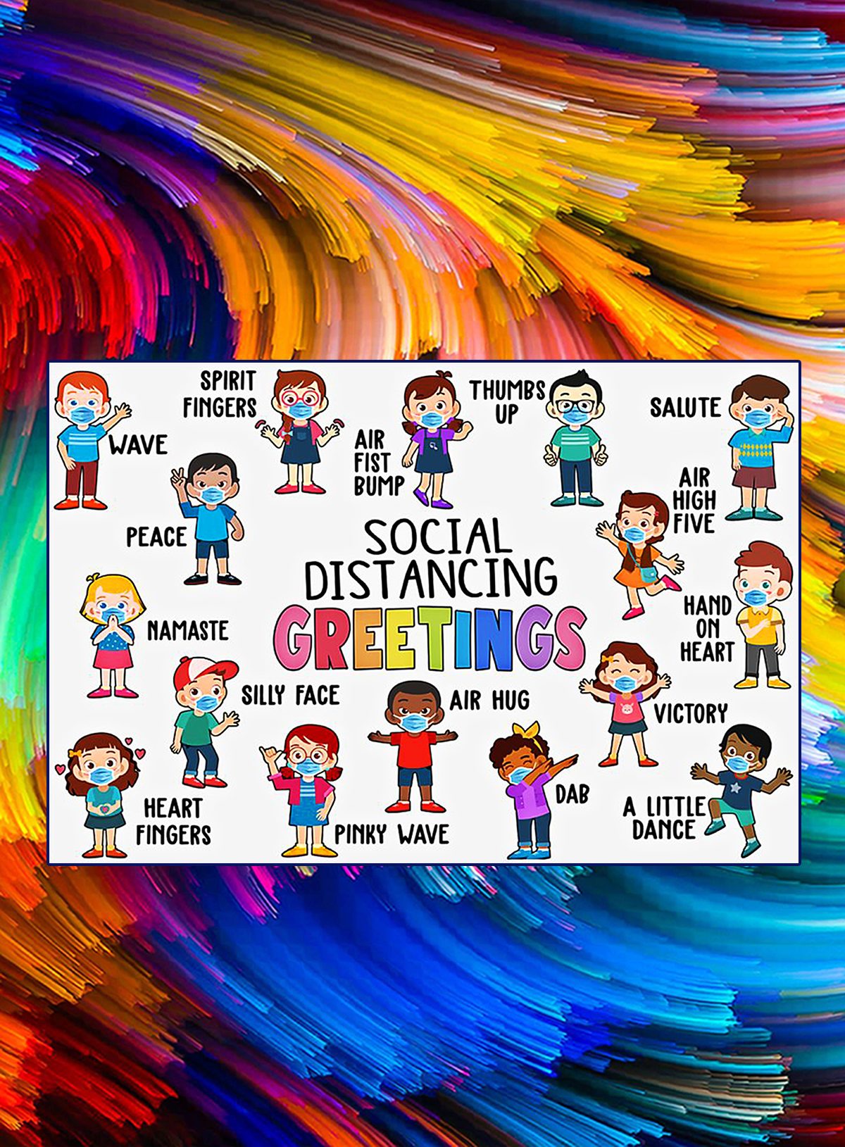 Social distancing greetings classroom poster - A4
