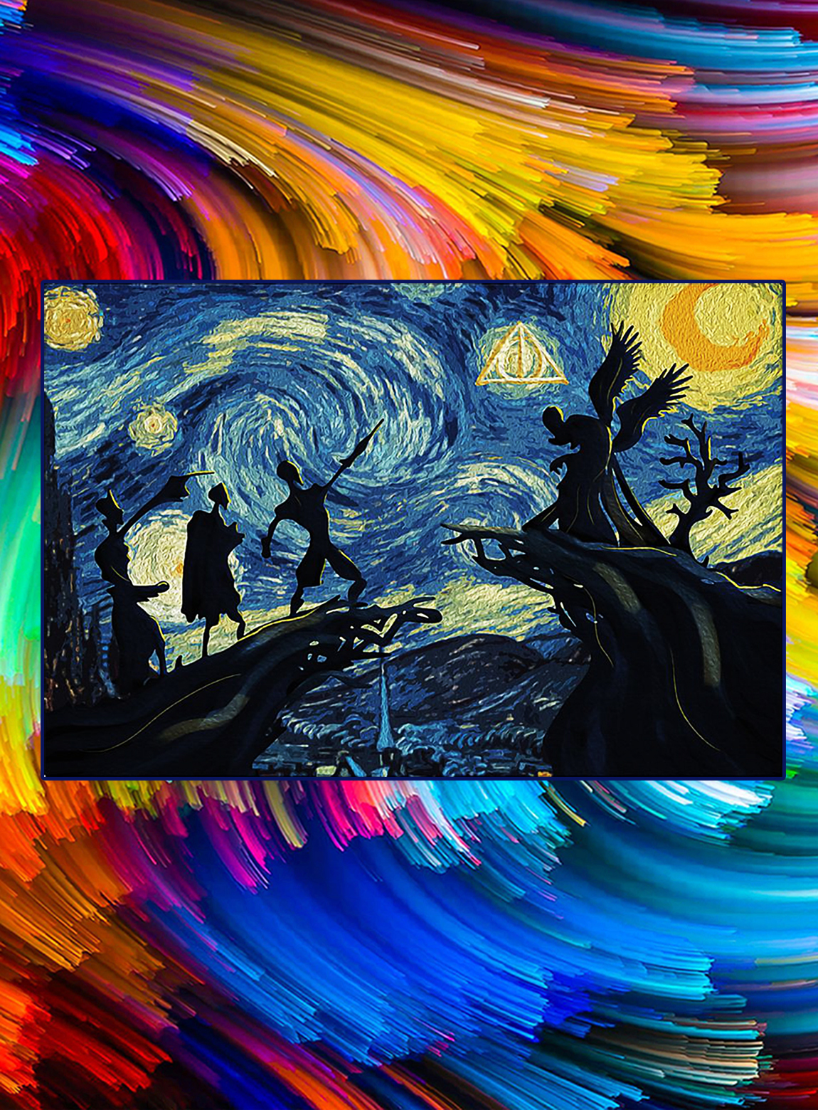 Starry night Deathly hallows harry potter poster - A3