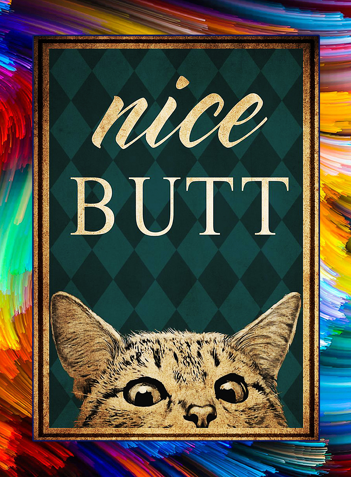 Vintage cat nice butt poster - A4