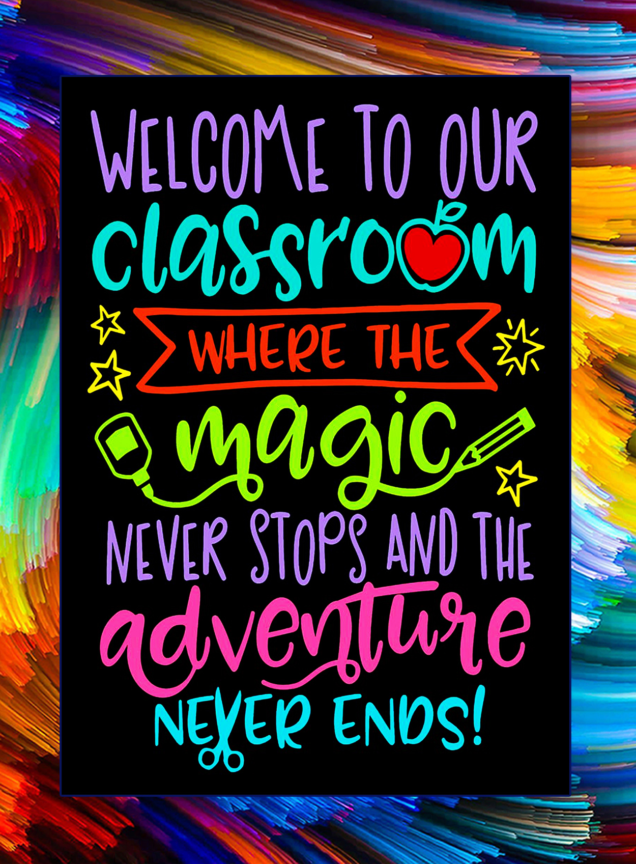 Welcome to our classroom where the magic never stops poster - A3