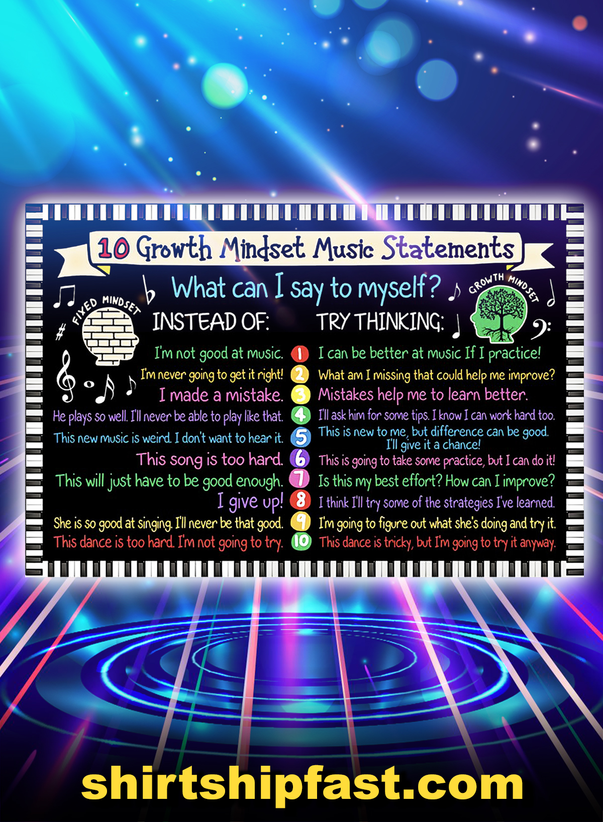 10 growth mindset music statements poster - A4