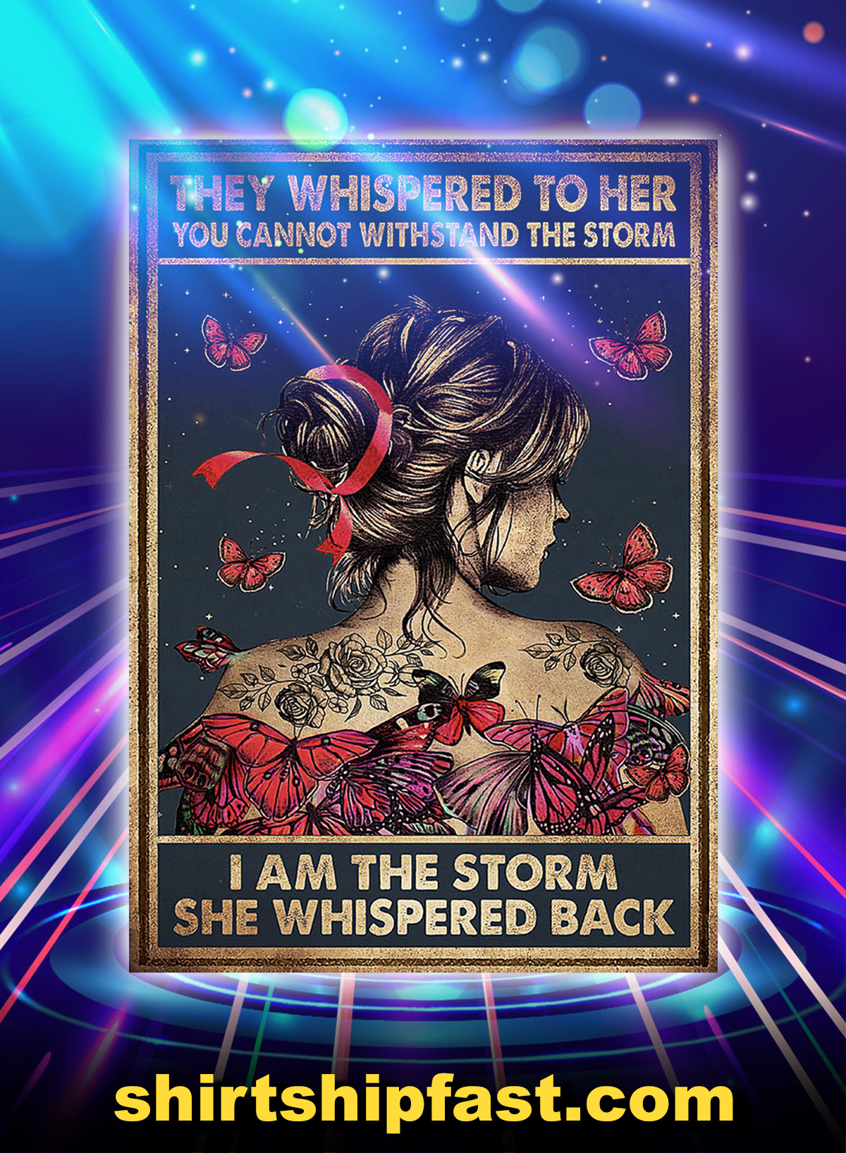 Breast cancer butterfly they whispered to her poster - A1