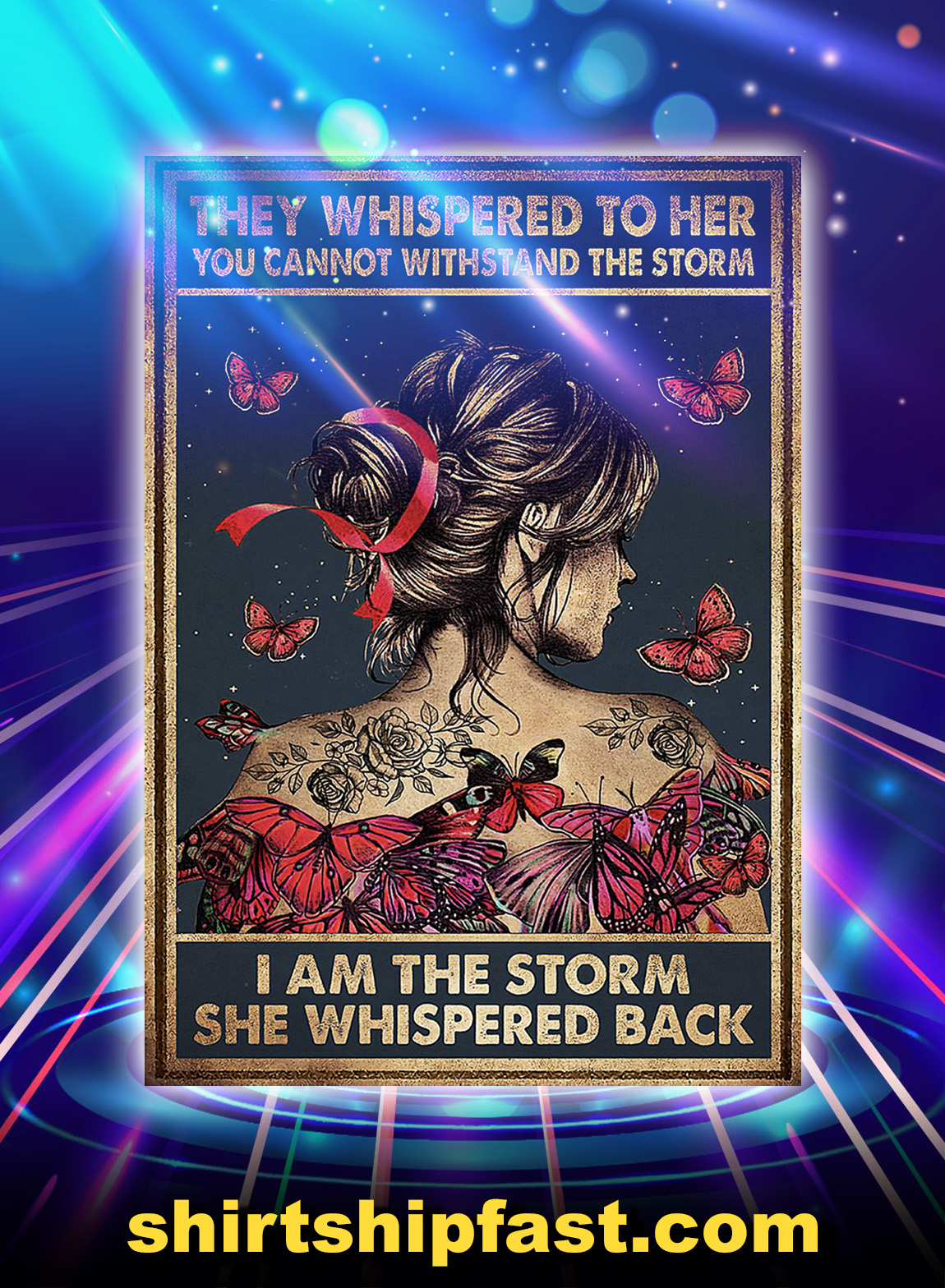 Breast cancer butterfly they whispered to her poster - A3