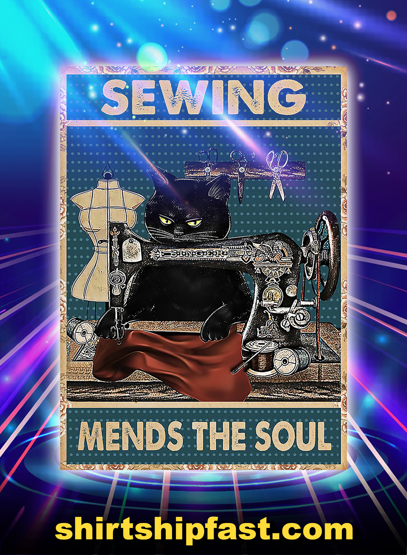 Cat sewing mends the soul poster - A1