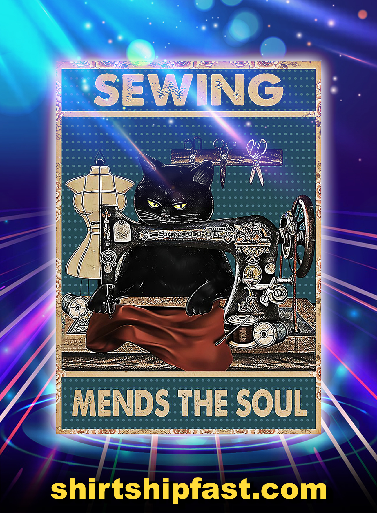 Cat sewing mends the soul poster - A4