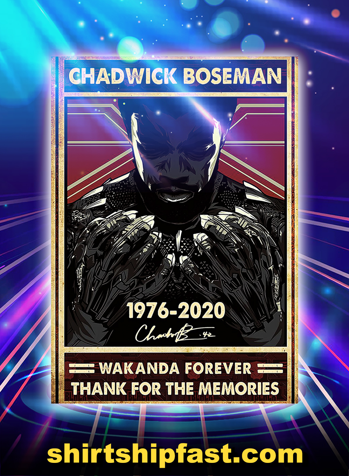 Chadwick boseman wakanda forever thank for the memories poster - A1