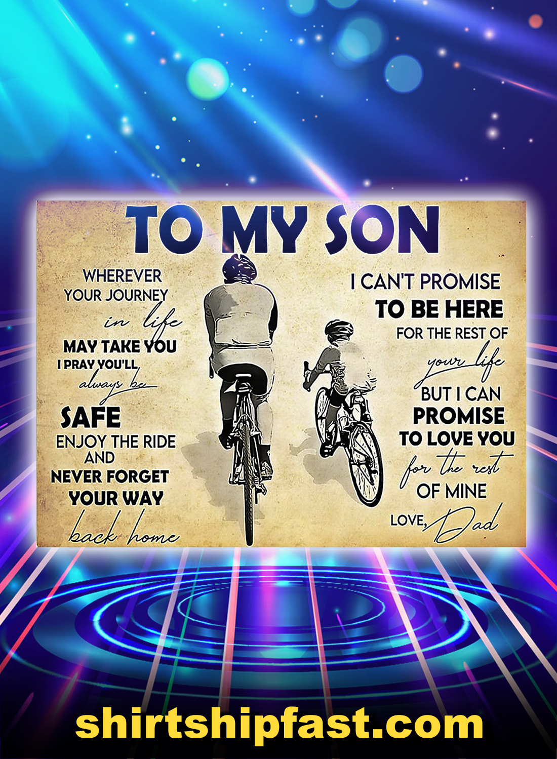Cycling to my son dad poster - A4