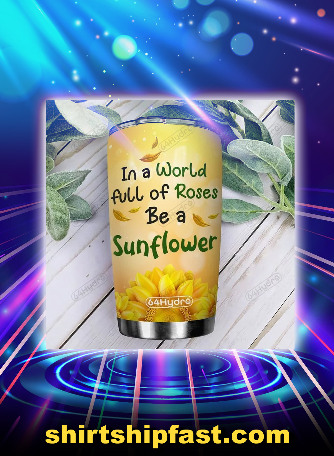 Elephant in a world full of rose be a sunflower personalized custom name tumbler - Picture 1