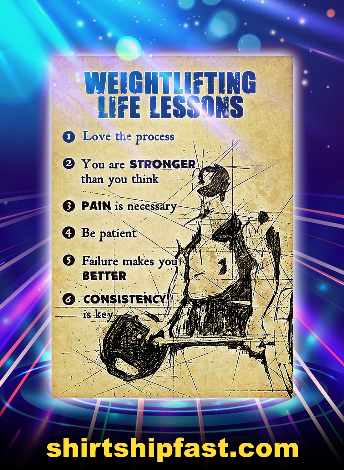 Fitness weightlifting life lessons poster - A4