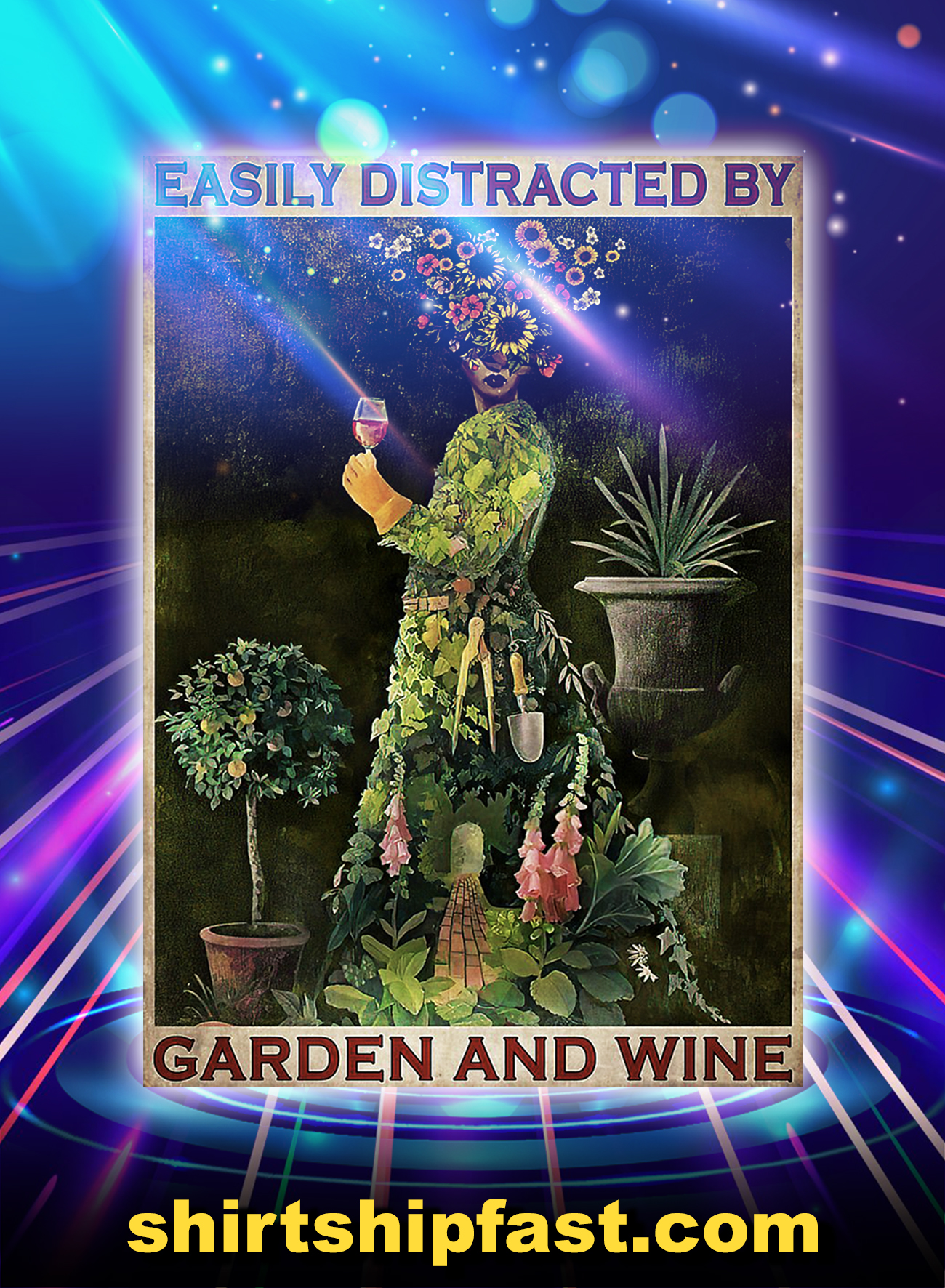 Girl easily distracted by garden and wine poster - A1