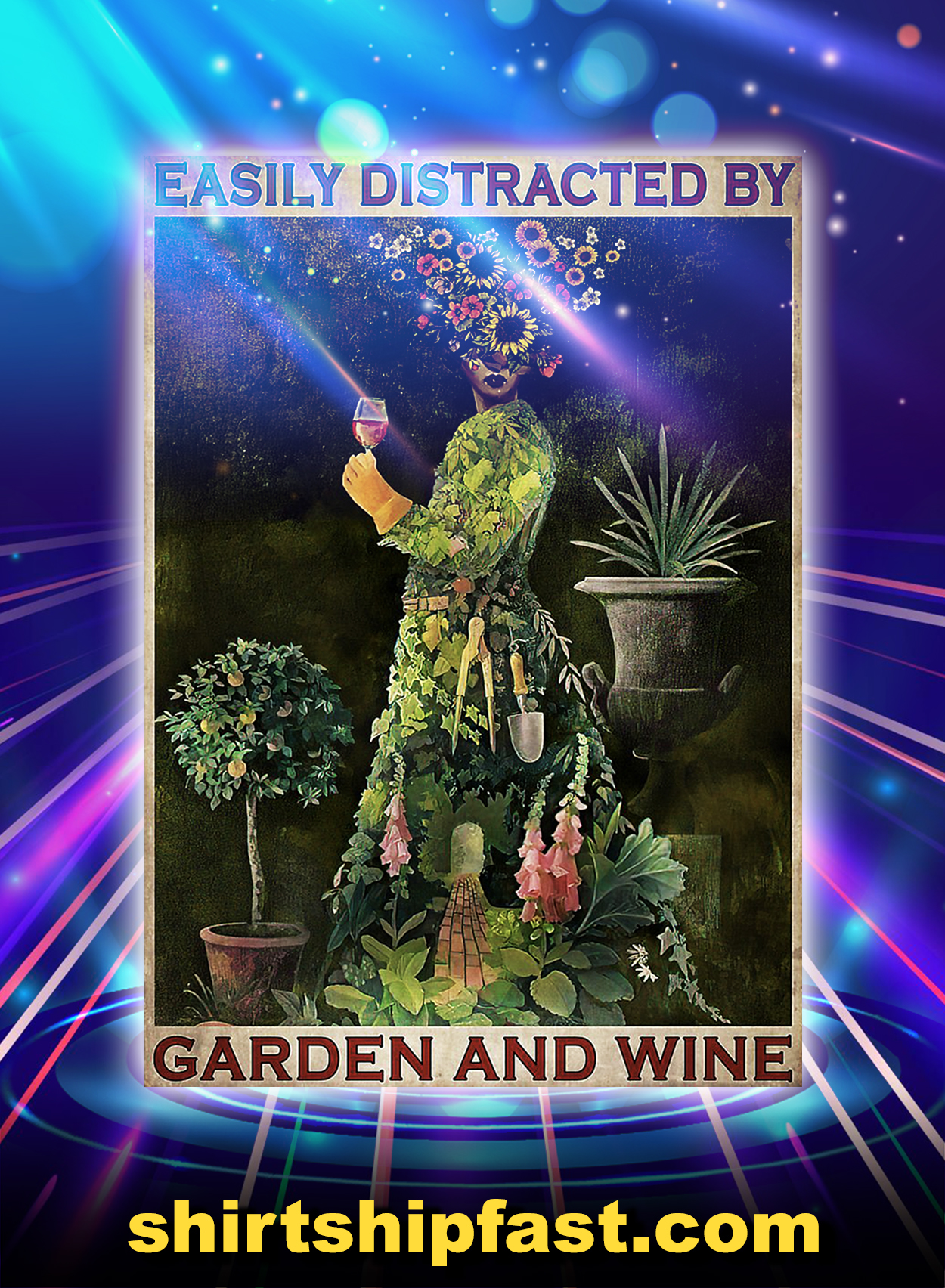 Girl easily distracted by garden and wine poster - A2