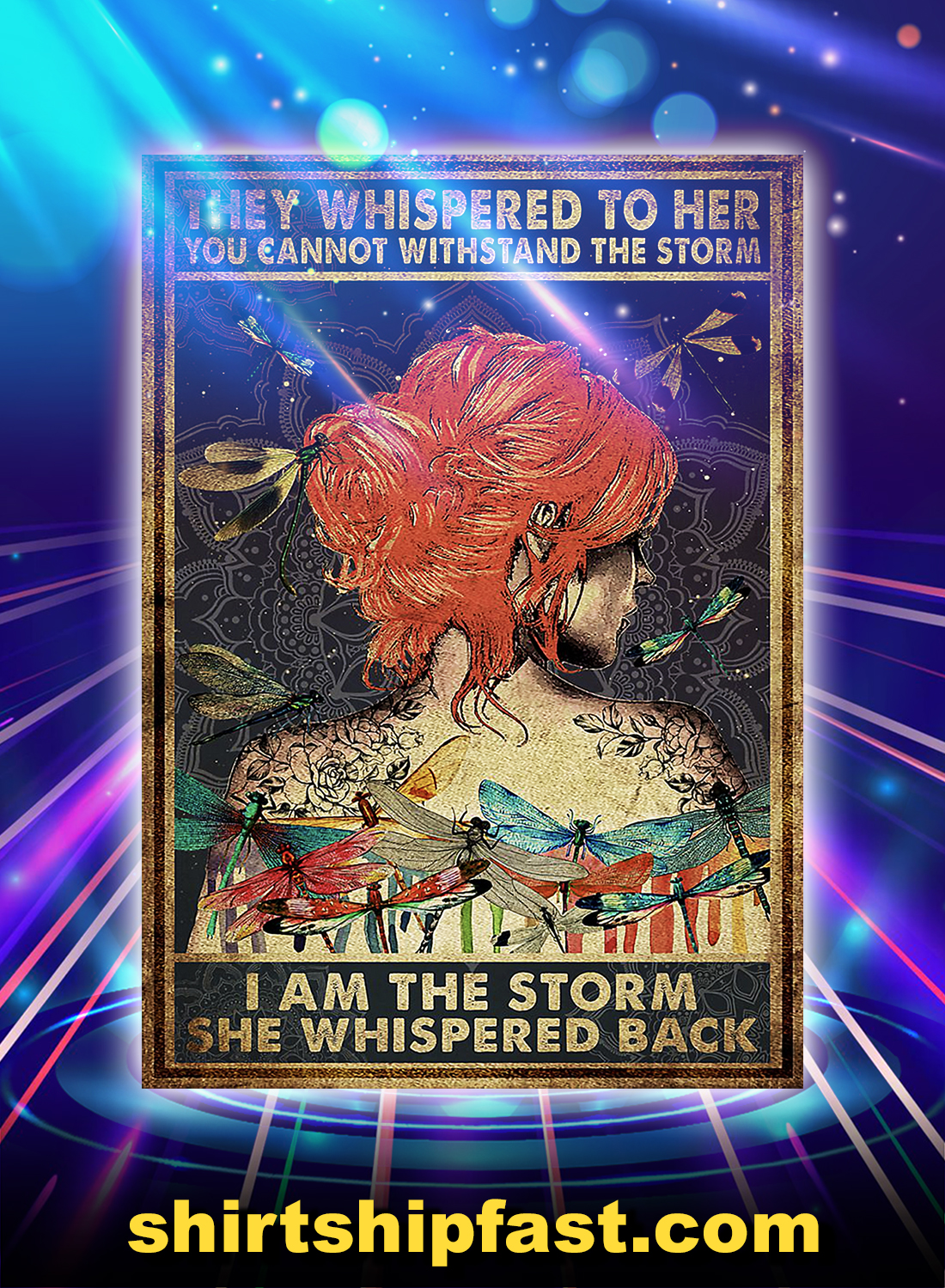 Girl red hair dragonfly they whispered to her i am the storm poster - A4