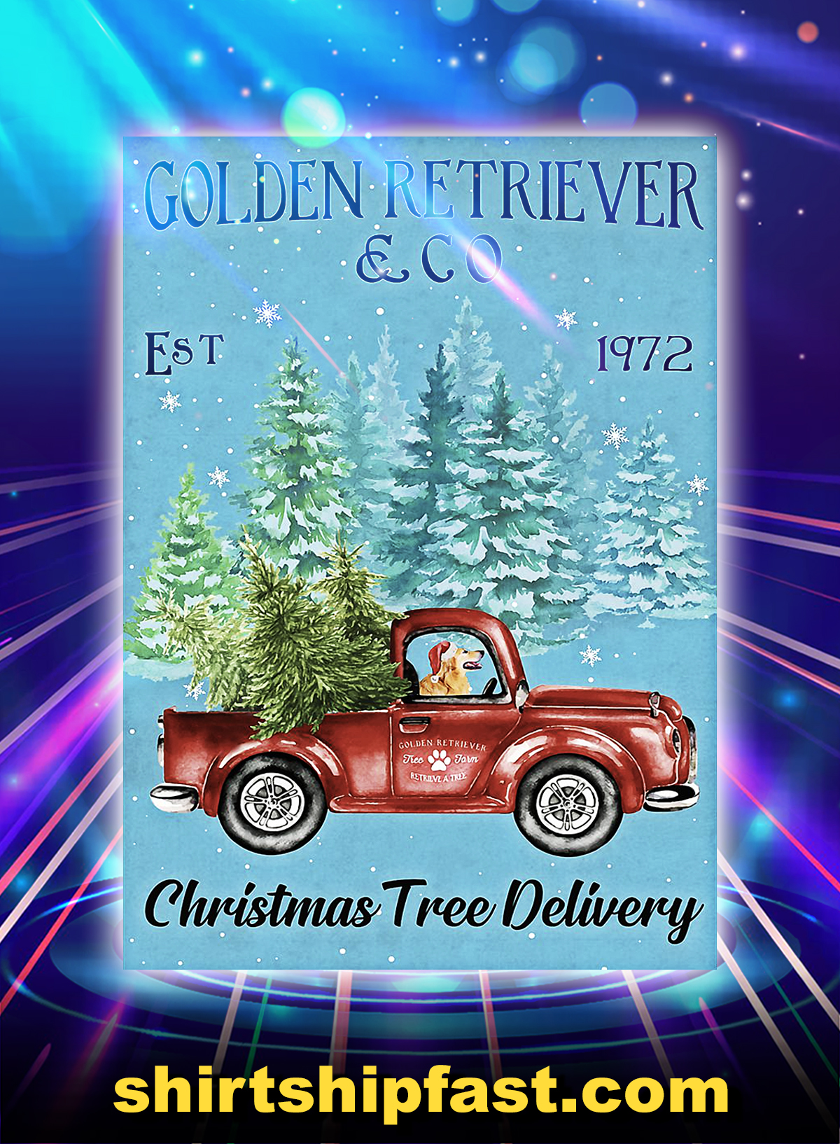 Golden retriever est and co 1972 christmas tree delivery poster - A4
