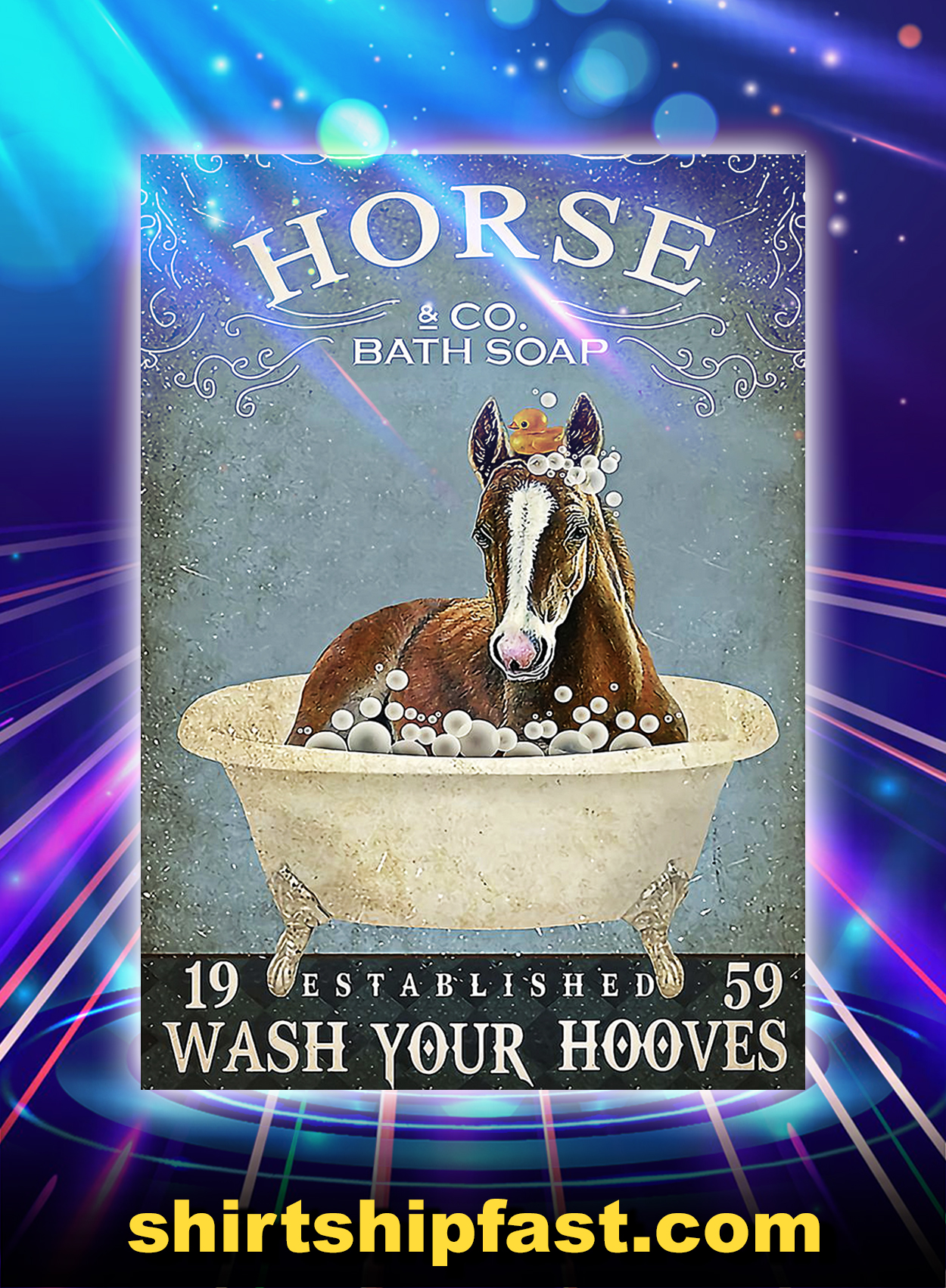 Horse co bath soap wash your hooves poster - A3