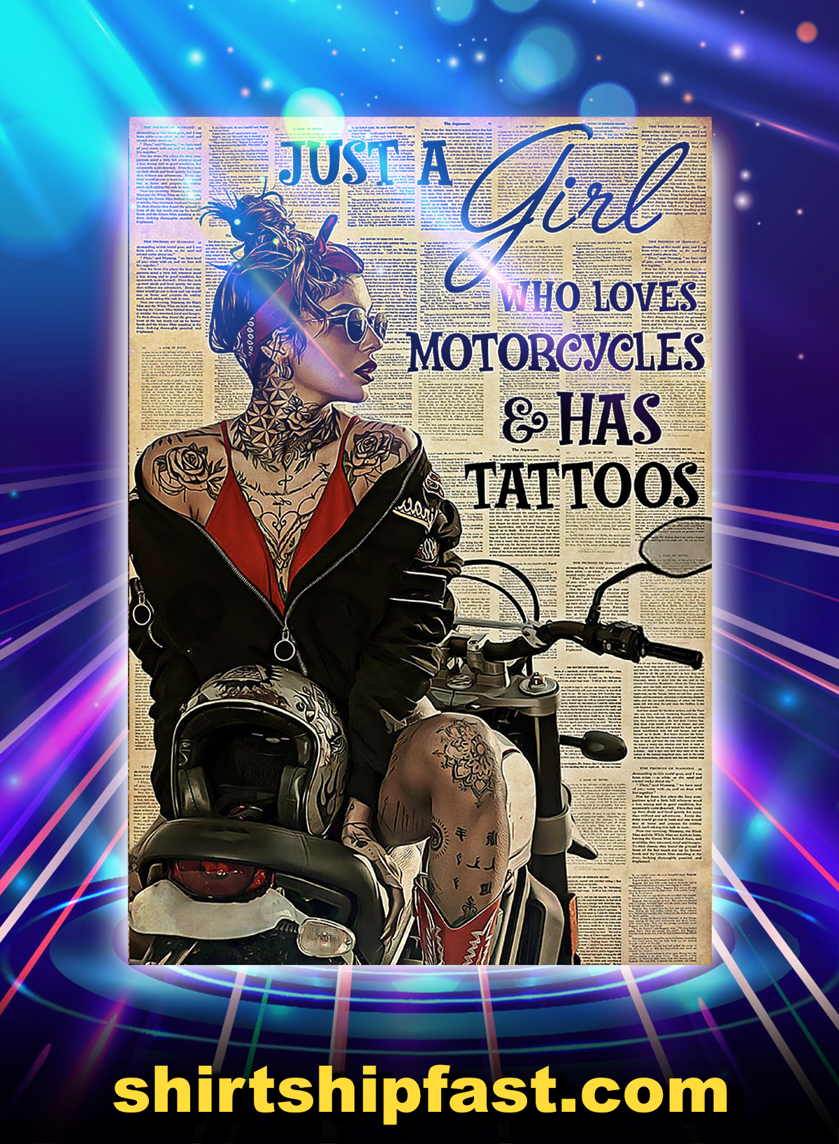 Just a girl who loves motorcycles and has tattoos poster - A4