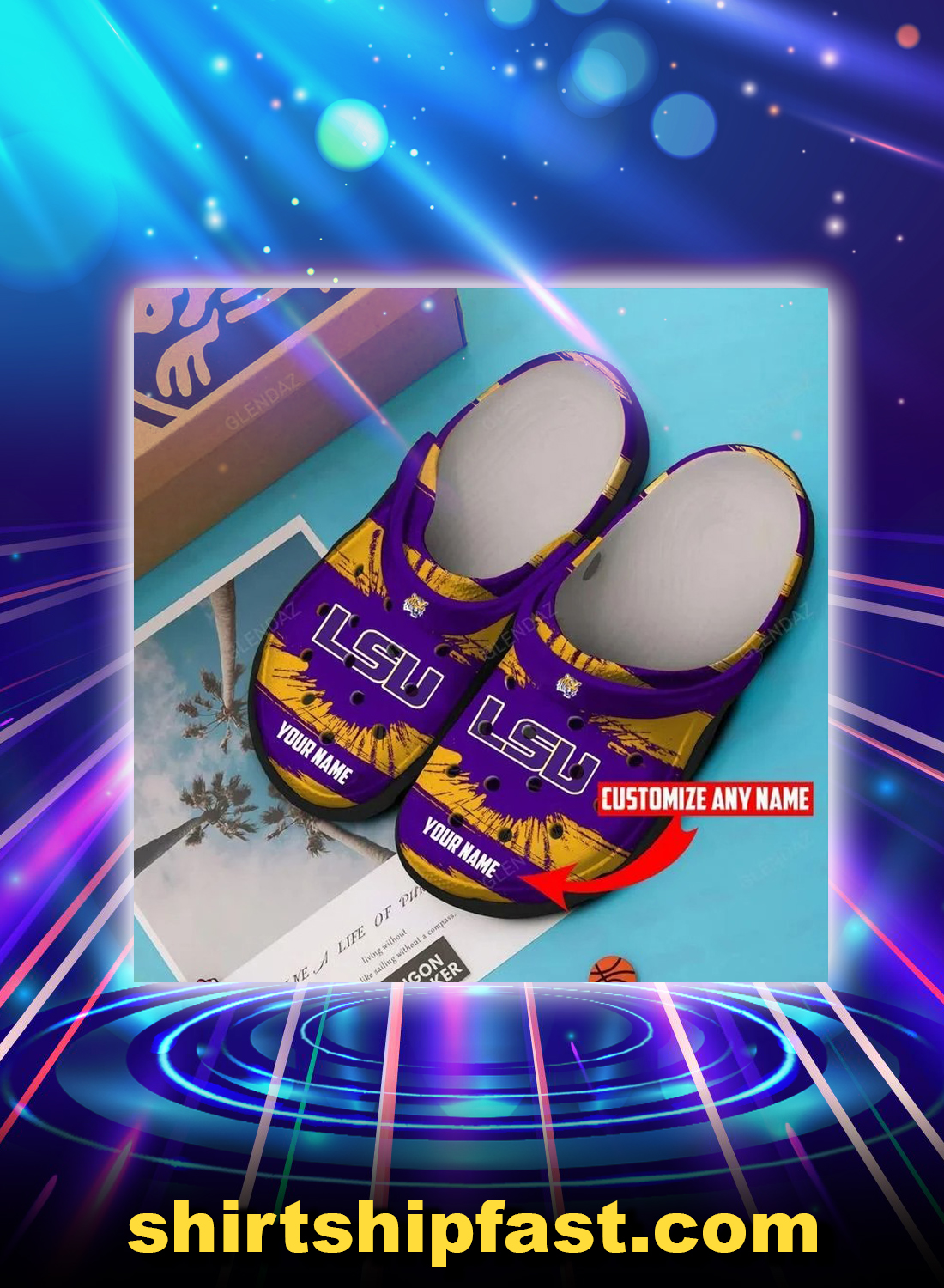 LSU tigers personalized custom name crocband crocs shoes - Picture 1