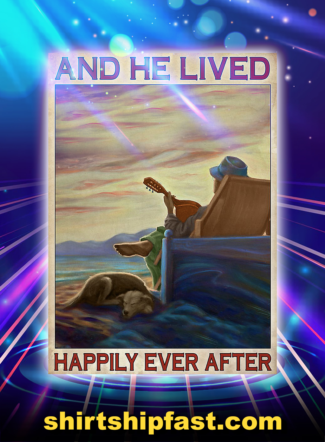 Man guitar dog and he lived happily ever after poster - A4