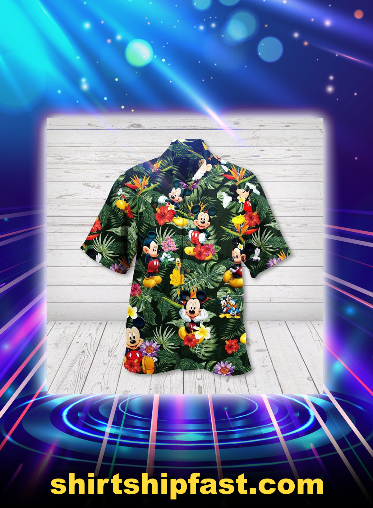 Mickey mouse hibicus hawaiian shirt - Picture 1