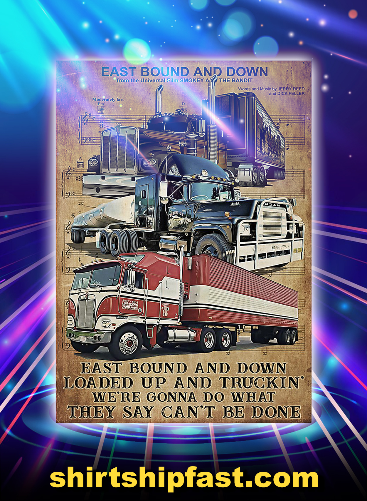 Music sheet trucker east bound and down poster - A3