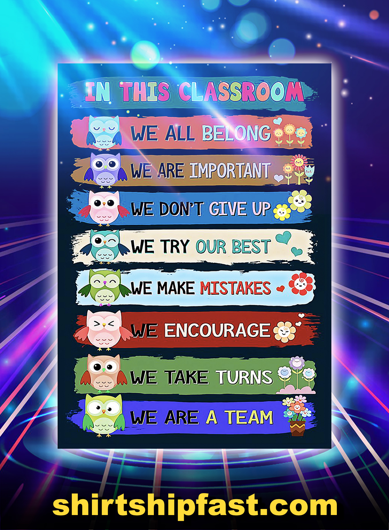 Owl teacher in this classroom we are a team poster - A2