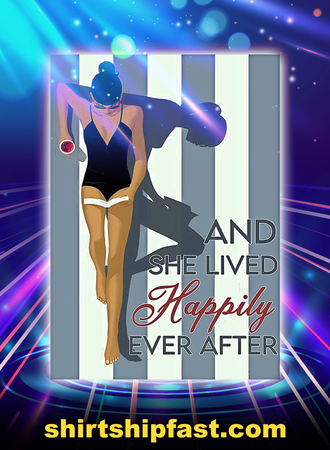 Pool girl reading and she lived happily ever after poster - A3
