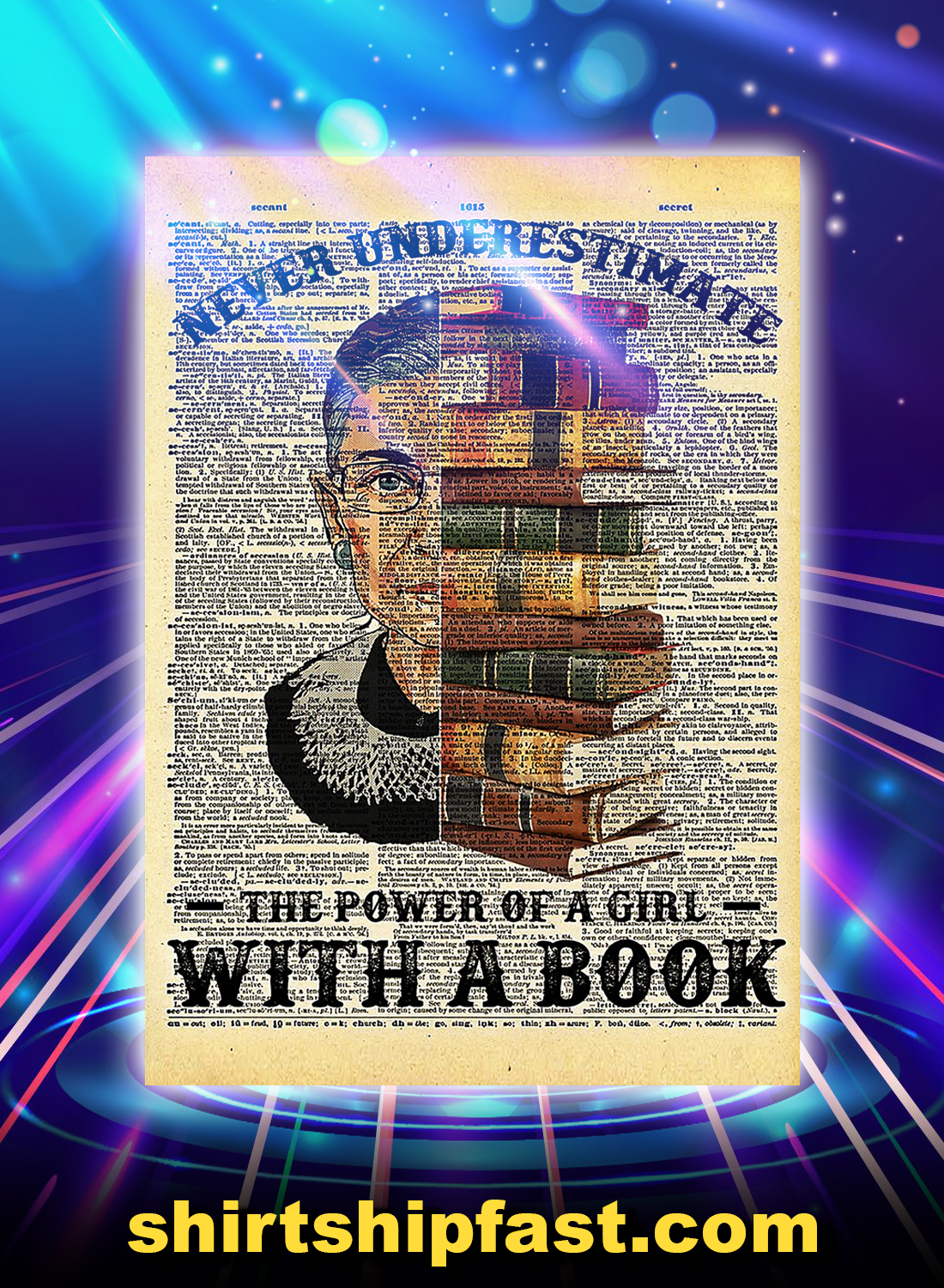 Rbg never underestimate the power of a girl with a book poster - Style 2