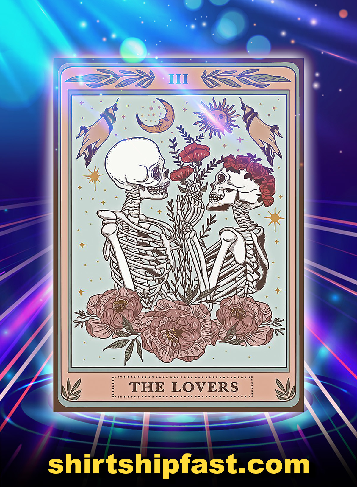 Skeleton tarot card the lovers poster - A4