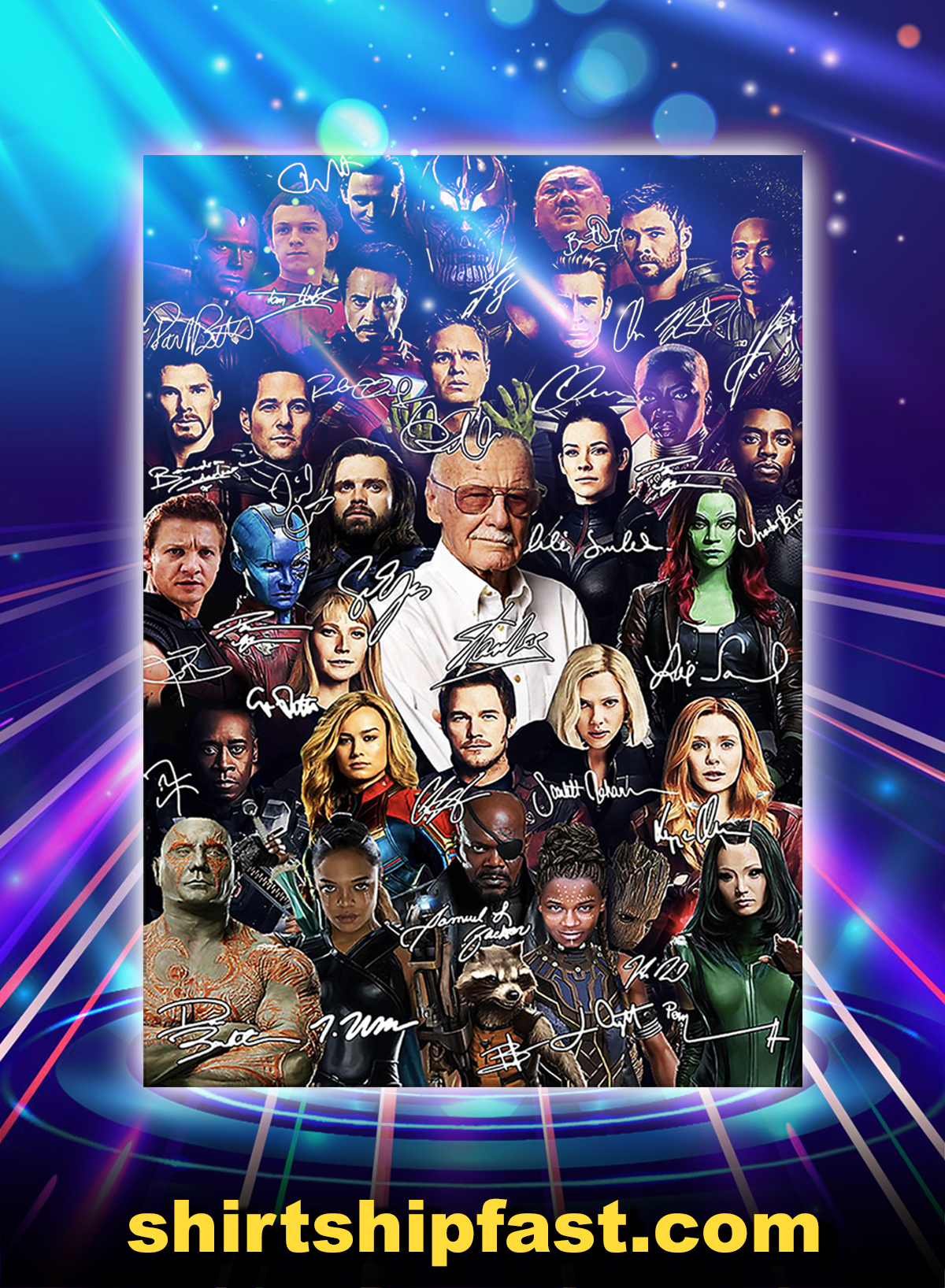 Stan lee avengers movies all actors signature poster - A1
