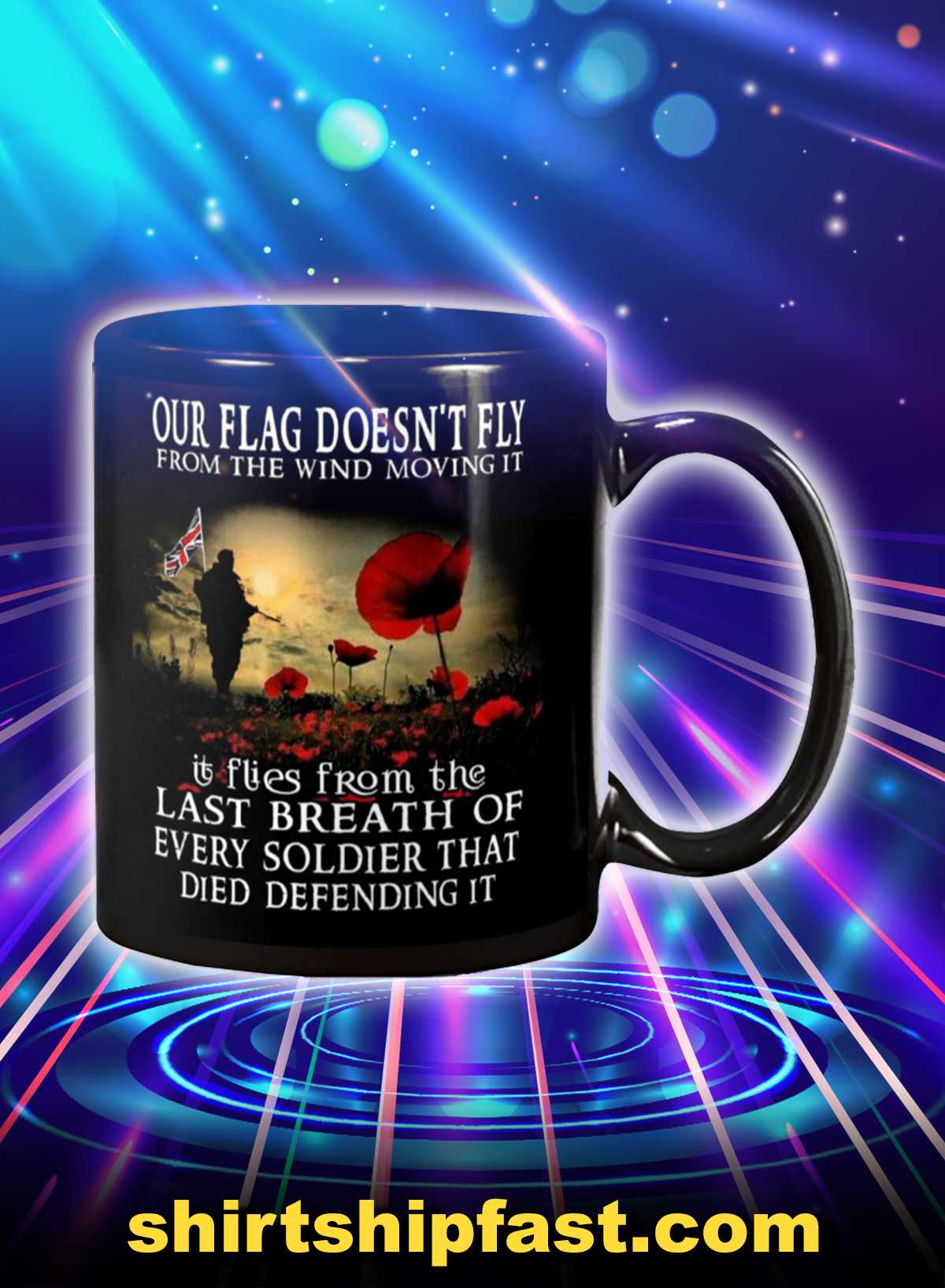 Veteran our flag doesn't fly from the wind moving it mug
