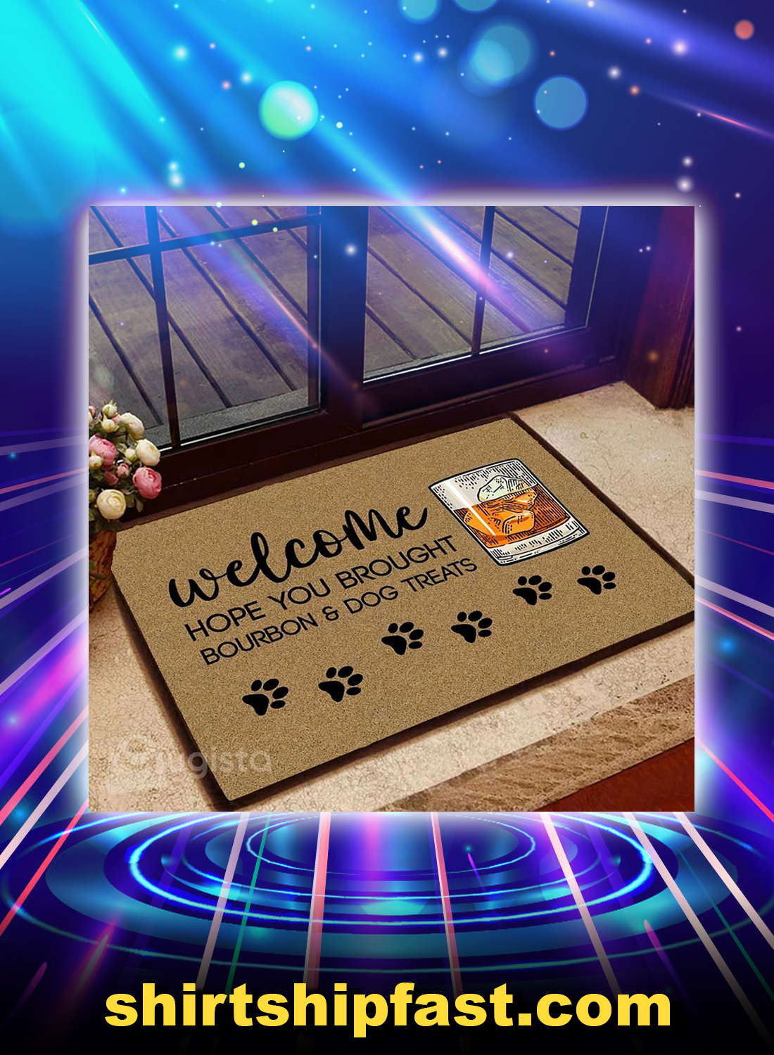 Welcome hope you brought bourbon and dog treats doormat - Picture 1