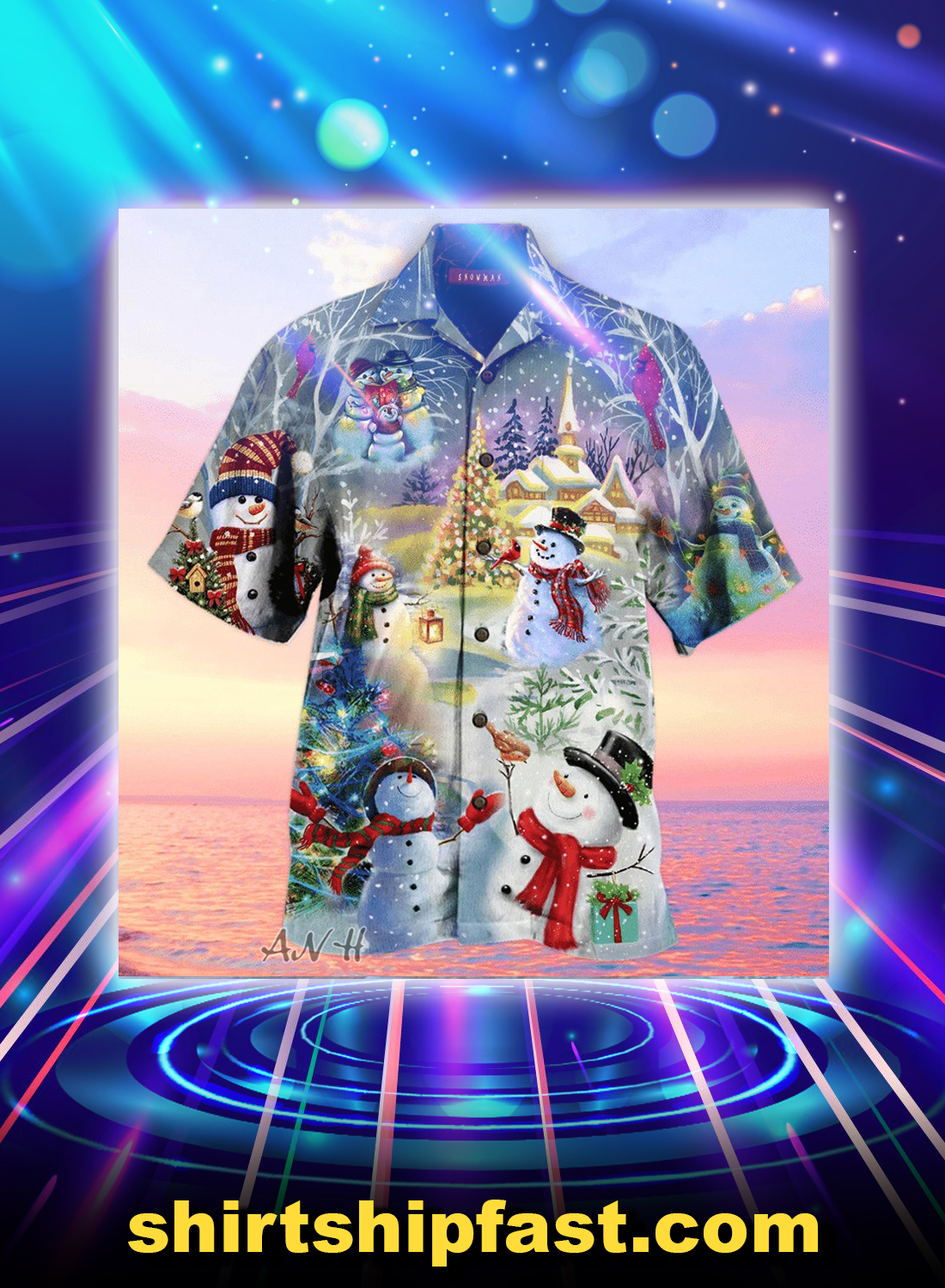 Amazing christmas snowman unisex hawaiian shirt - Picture 1