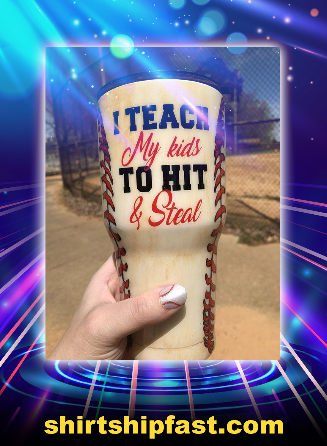 Baseball i teach my kids to hit and steal tumbler - Picture 1