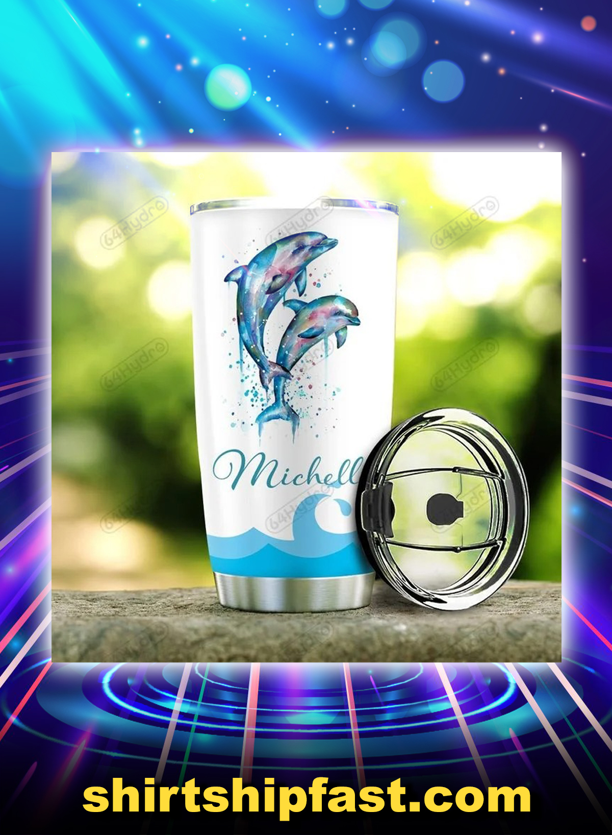 Dolphin drink your flippin water personalized custom name tumbler - Picture 2