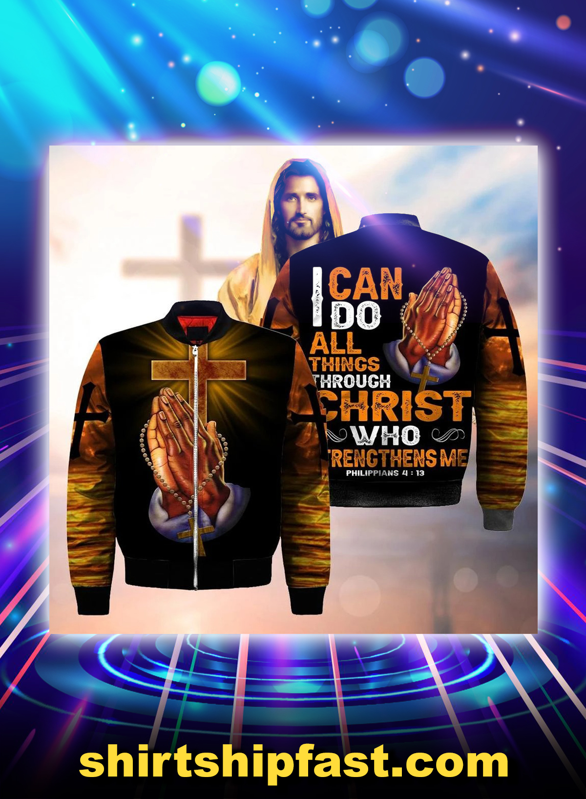 God hand cross i can do all things through christ all over printed 3d bomber