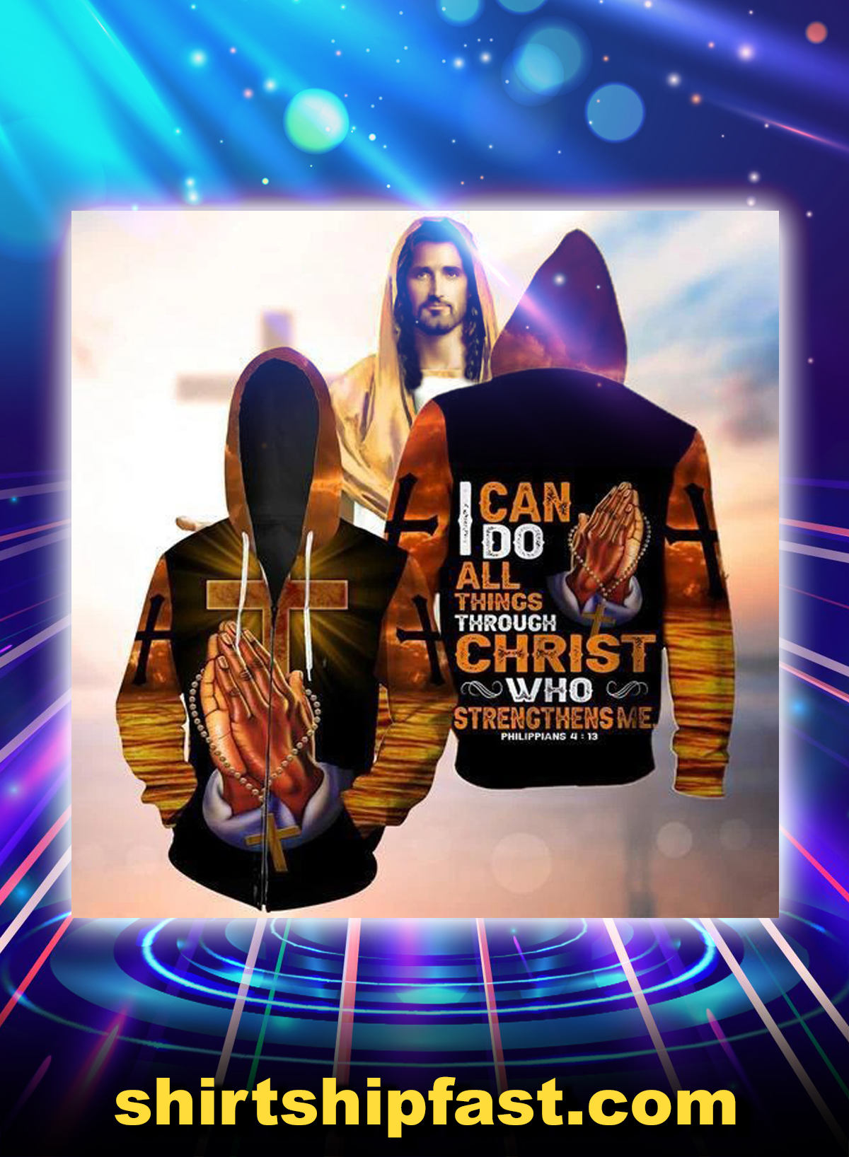 God hand cross i can do all things through christ all over printed 3d zip hoodie