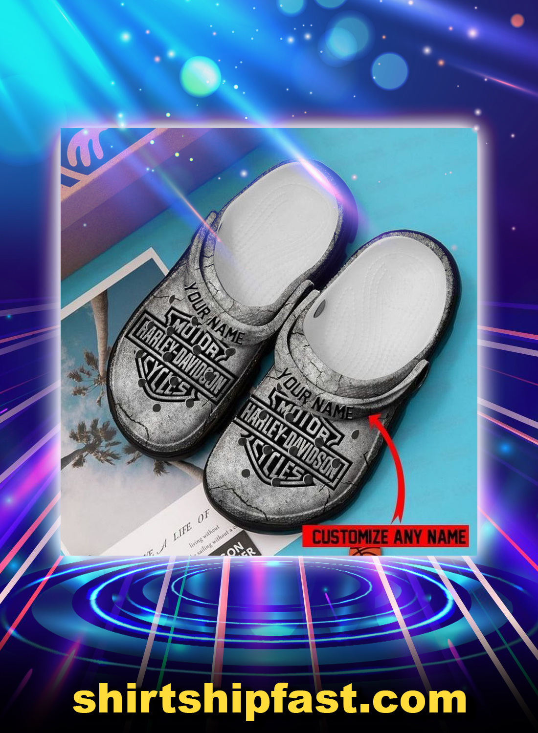 Harley davidson personalized custom name crocband crocs shoes - Picture 1