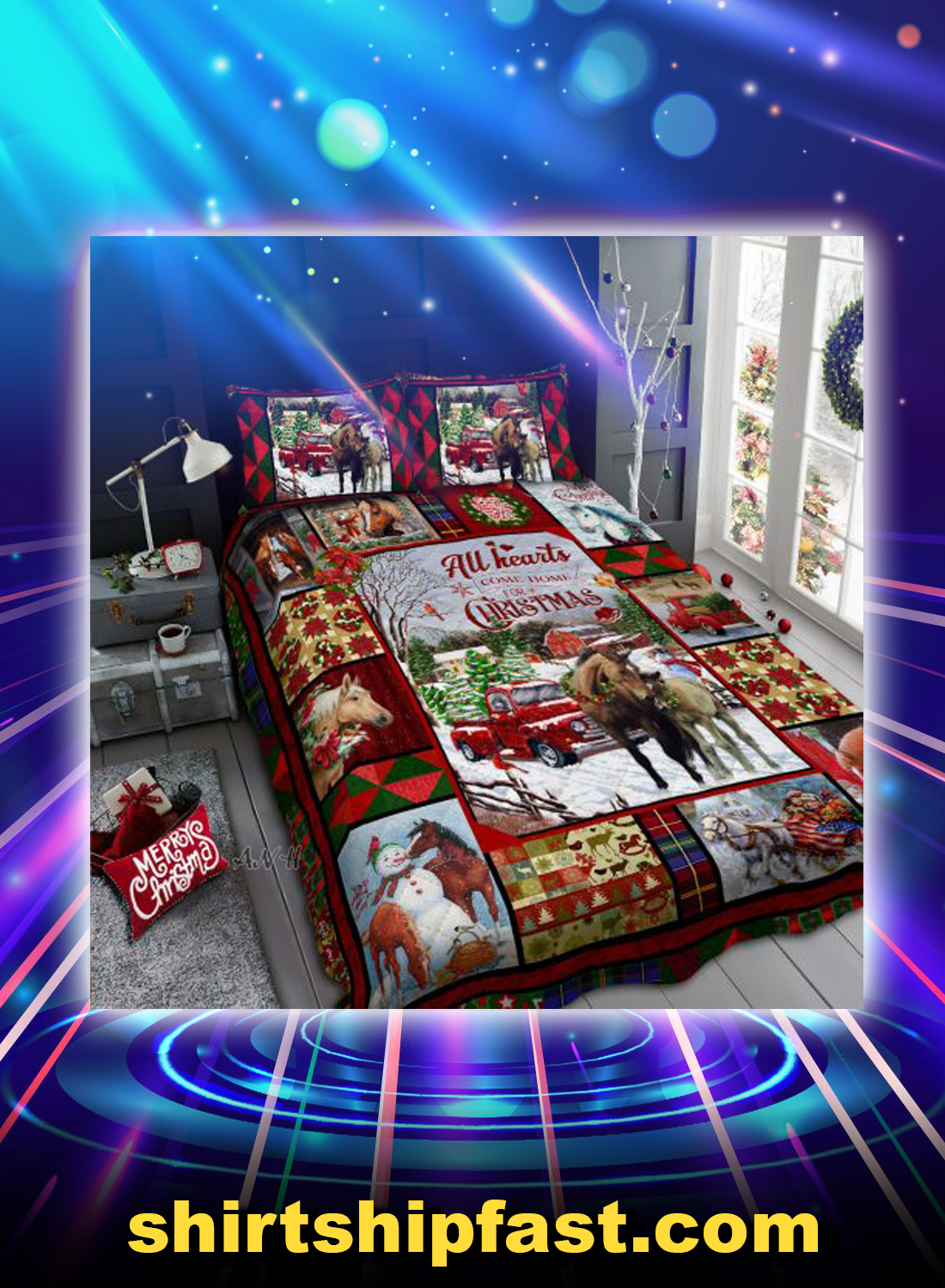 Horse all hearts come home for christmas bed set - Picture 1