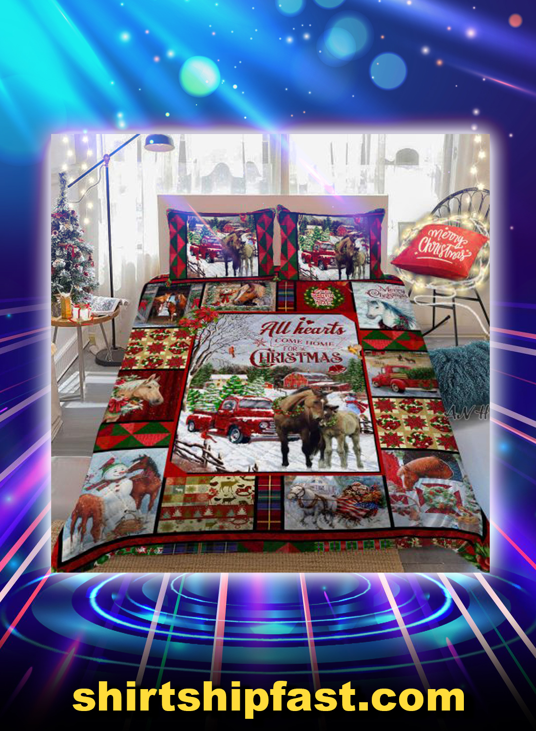 Horse all hearts come home for christmas bed set