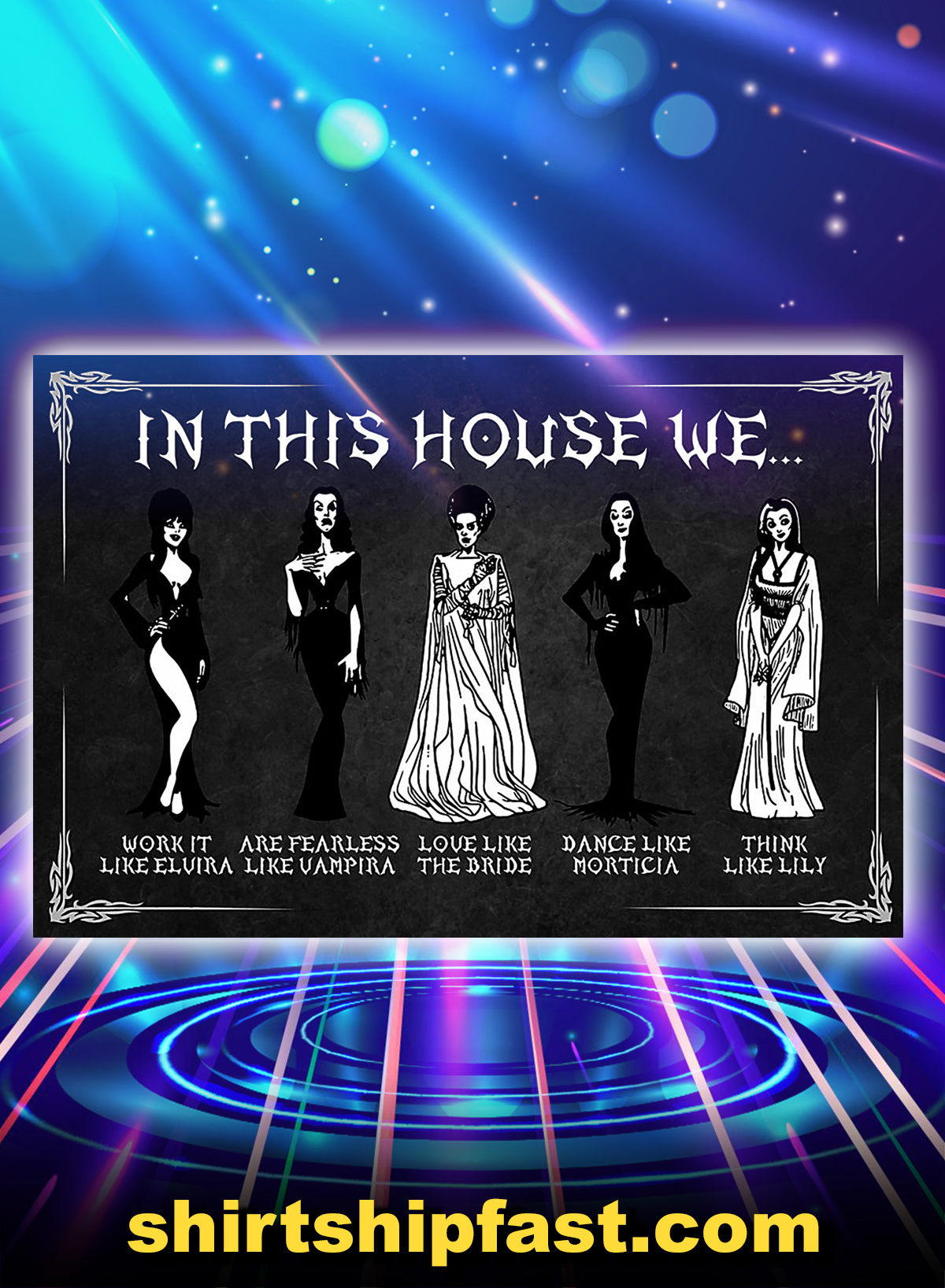 In this house we work it like elvira poster - A4