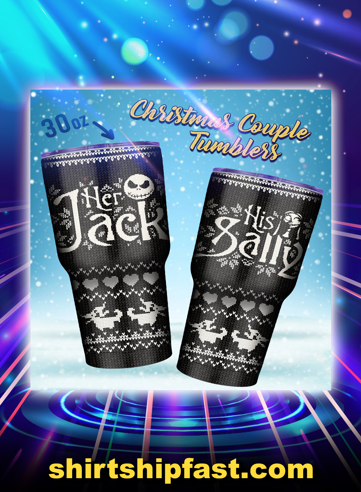 Jack and sally couple tumbler - Picture 1