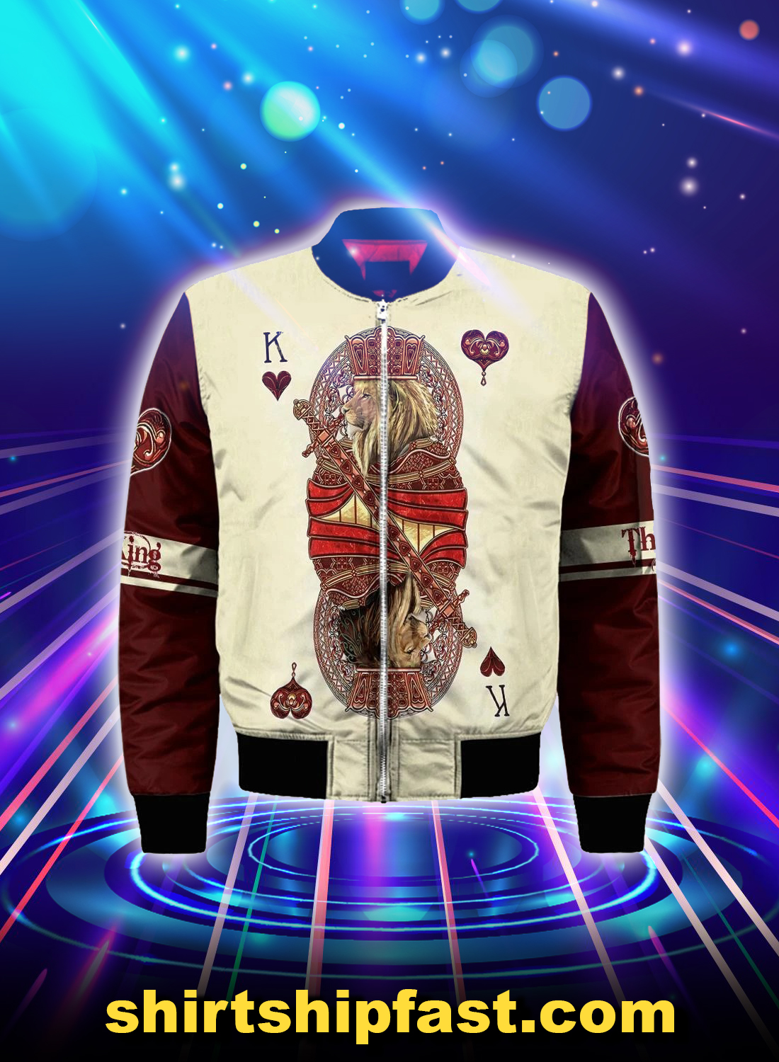 King hearts lion poker all over printed 3d bomber