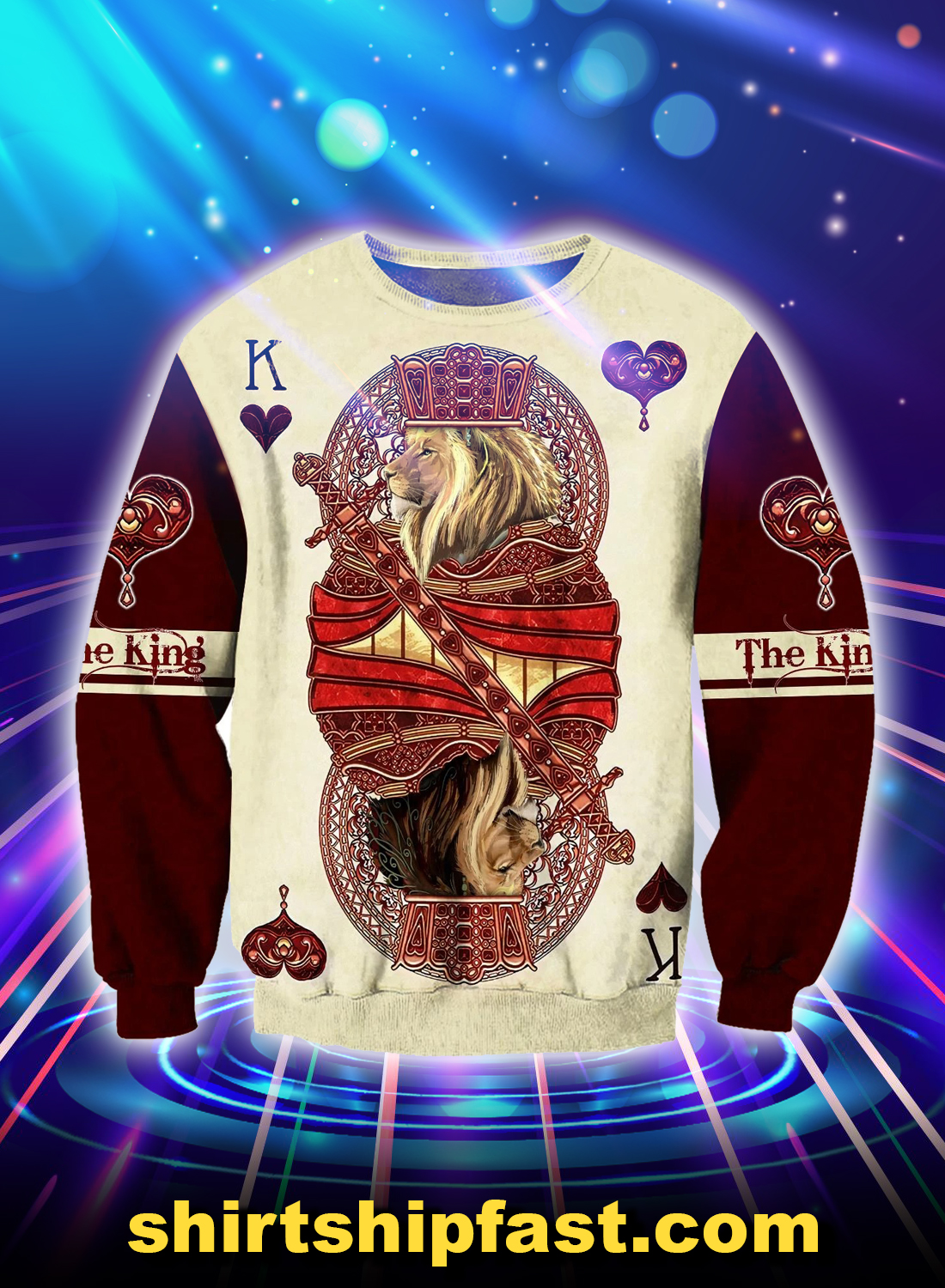 King hearts lion poker all over printed 3d sweatshirt